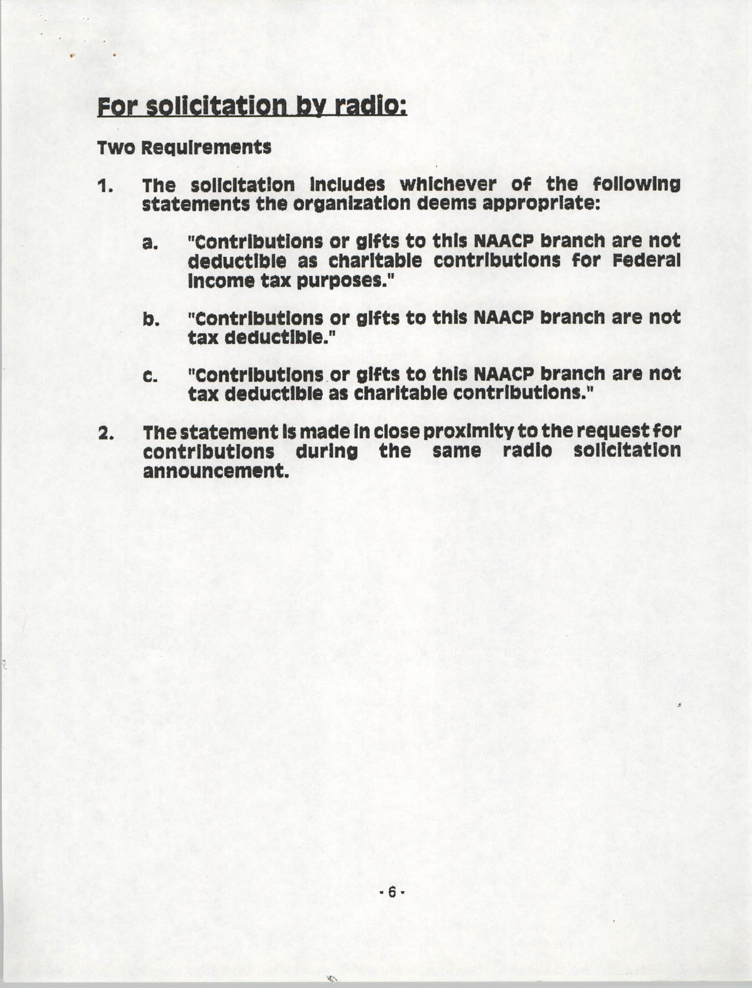 Tax Responsibilities of NAACP Branches as 501(c) (4) Entities, Page 6