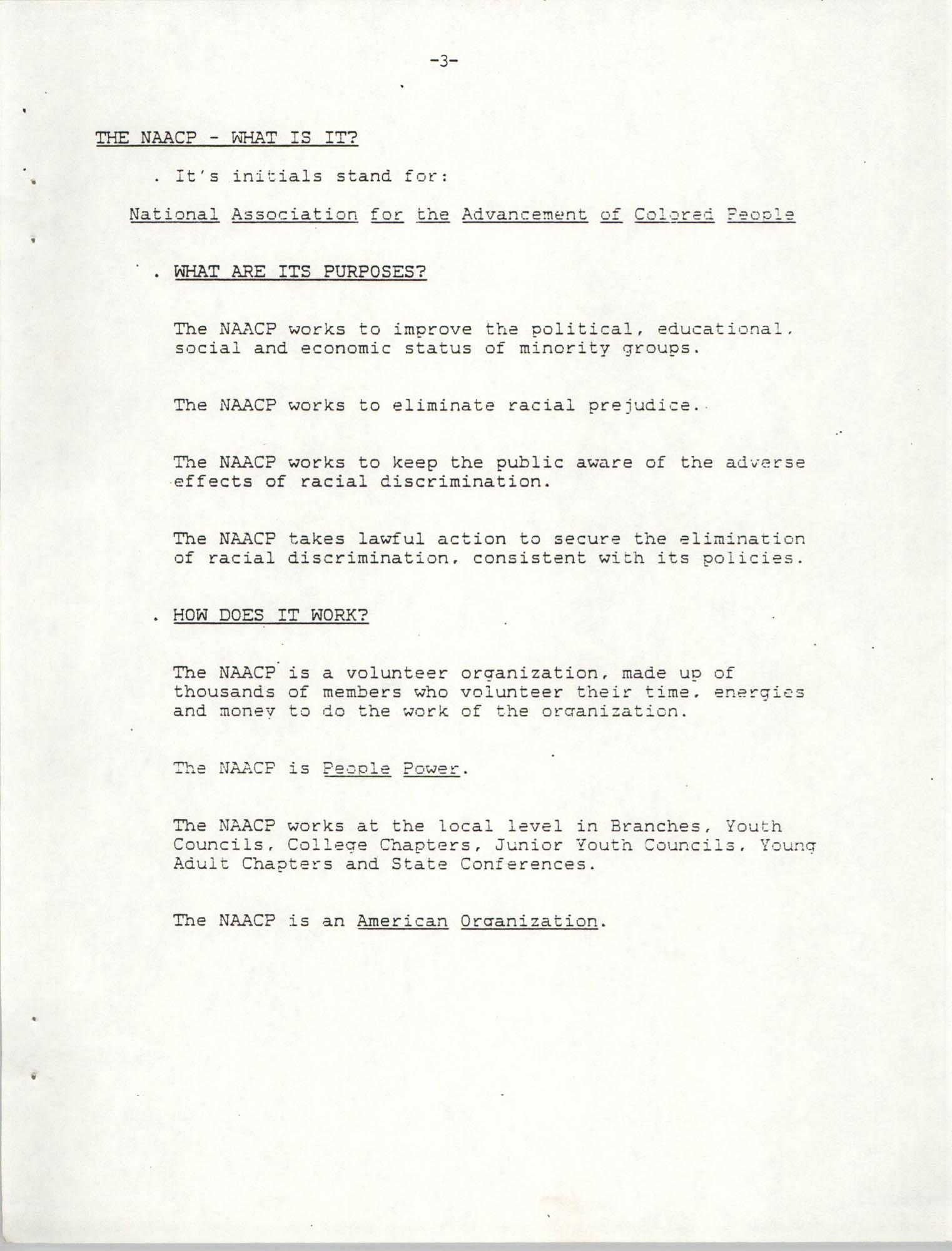 NAACP Mandatory Training Handbook, 1989, Page 3