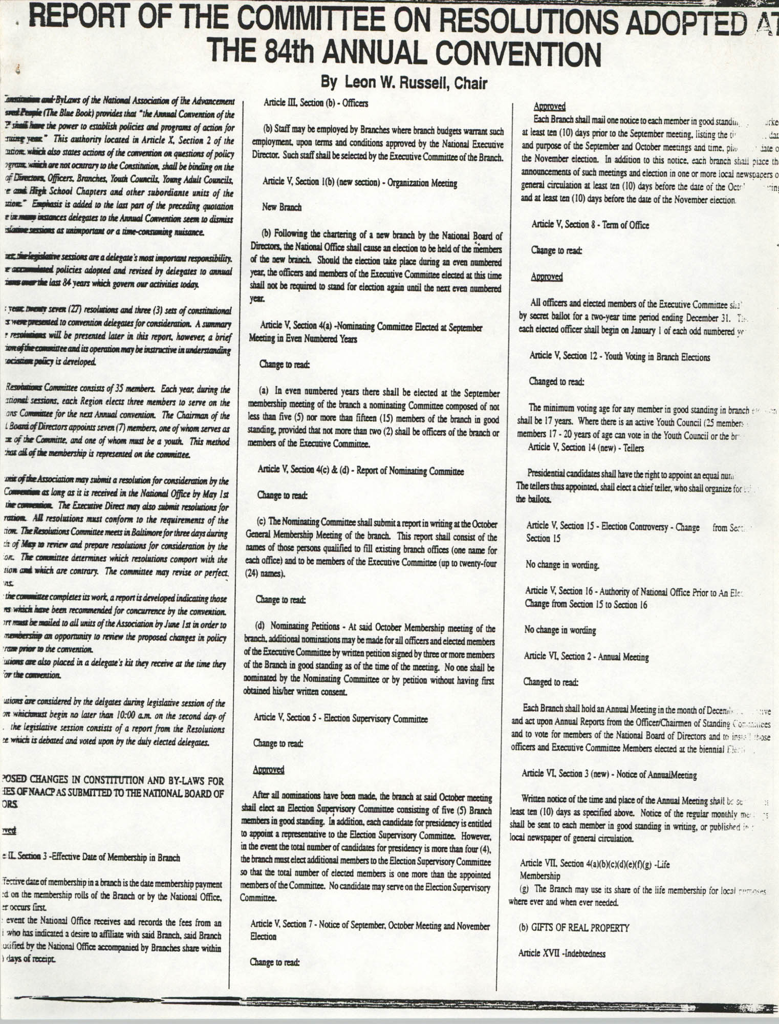 Report of the Committee on Resolutions Adopted at the 84th Annual Convention, Page 1