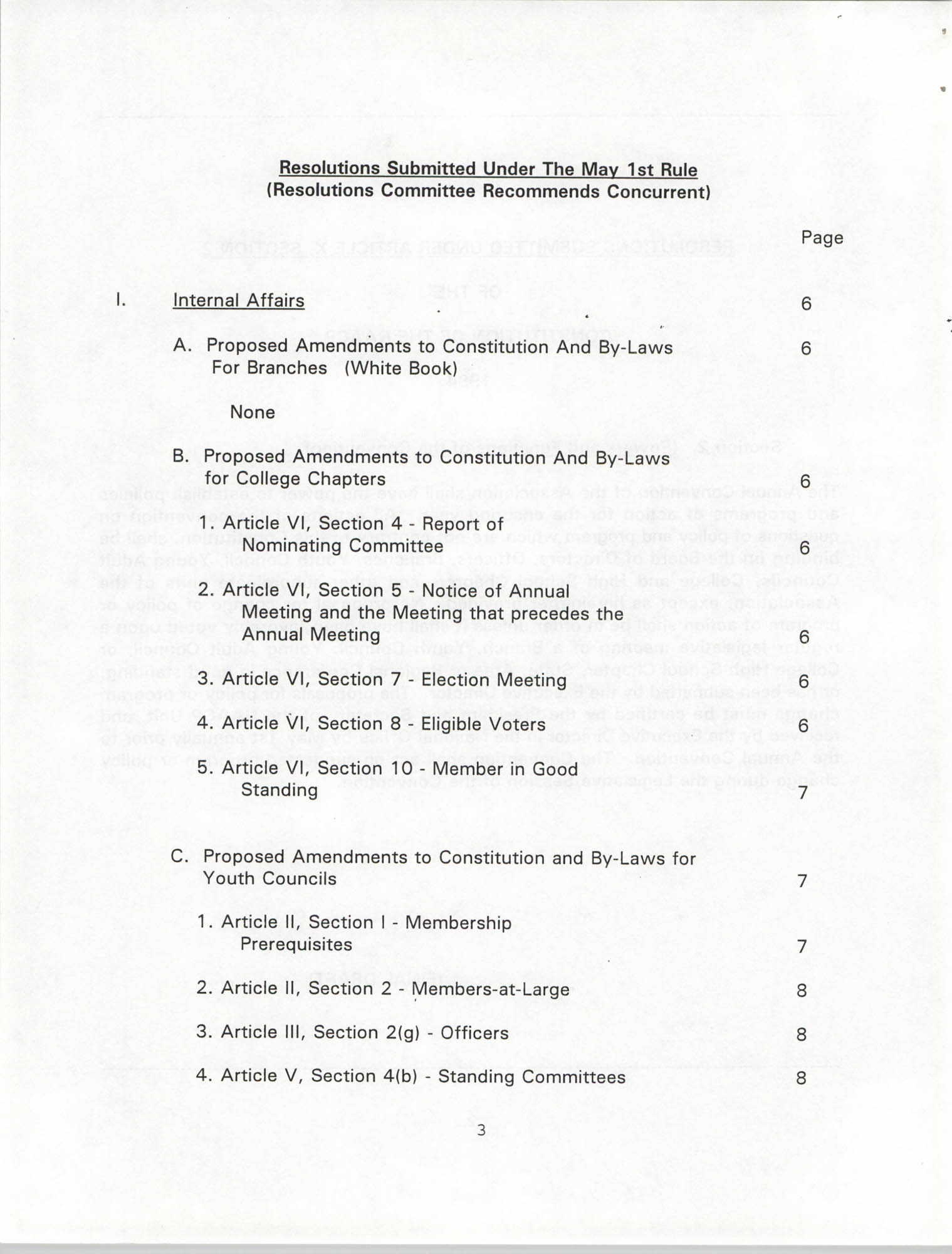Resolutions Submitted Under Article X, Section 2 of the Constitution of the NAACP, 1994, Page 3