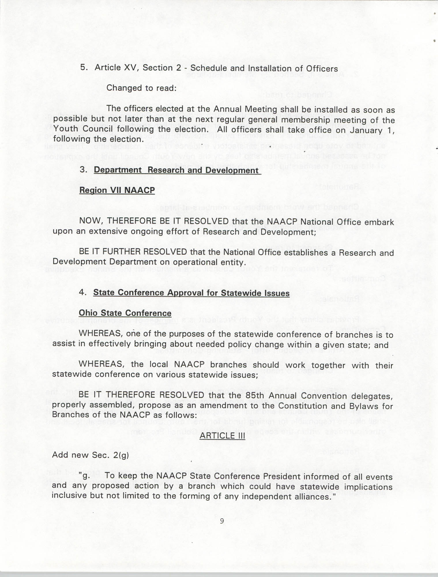 Resolutions Submitted Under Article X, Section 2 of the Constitution of the NAACP, 1994, Page 9