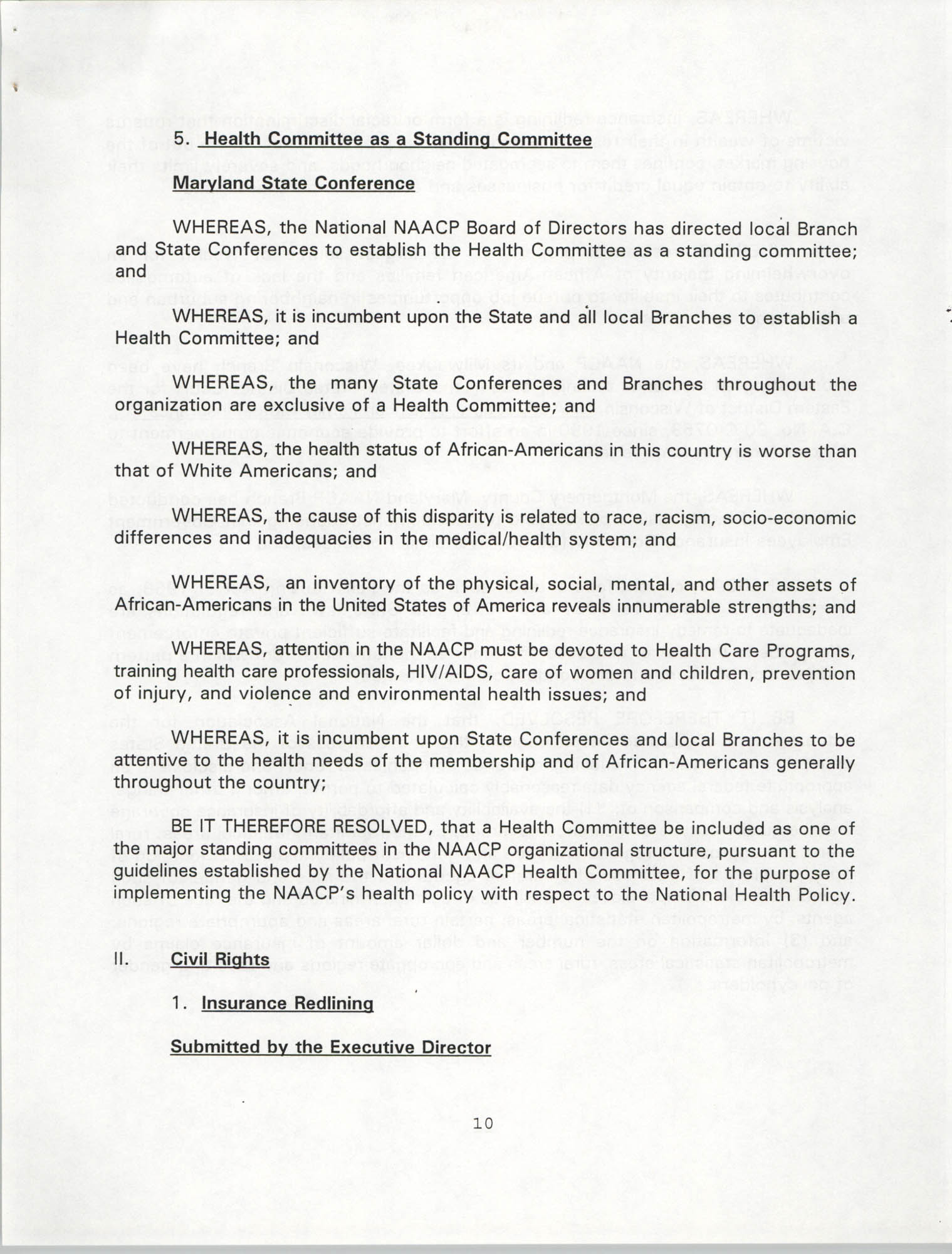 Resolutions Submitted Under Article X, Section 2 of the Constitution of the NAACP, 1994, Page 10
