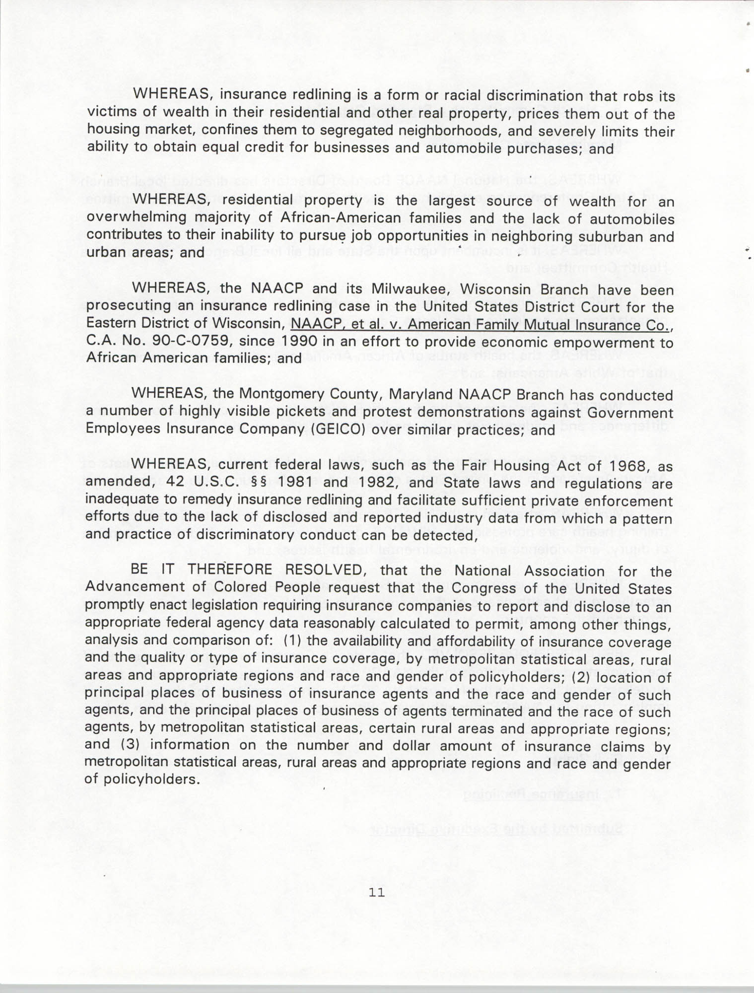 Resolutions Submitted Under Article X, Section 2 of the Constitution of the NAACP, 1994, Page 11