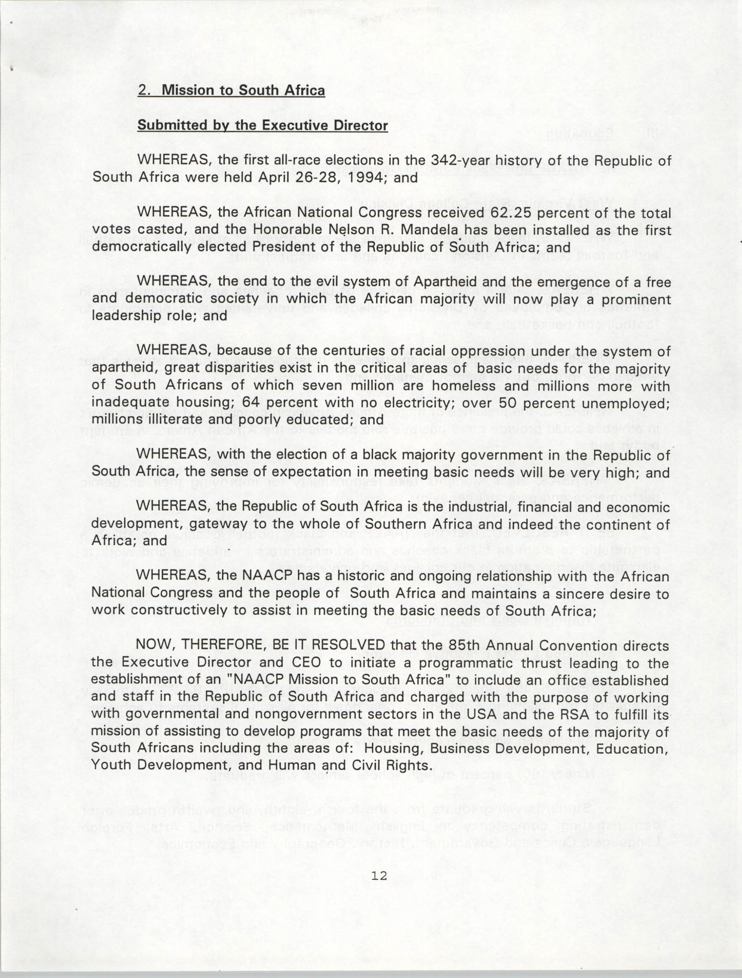 Resolutions Submitted Under Article X, Section 2 of the Constitution of the NAACP, 1994, Page 12