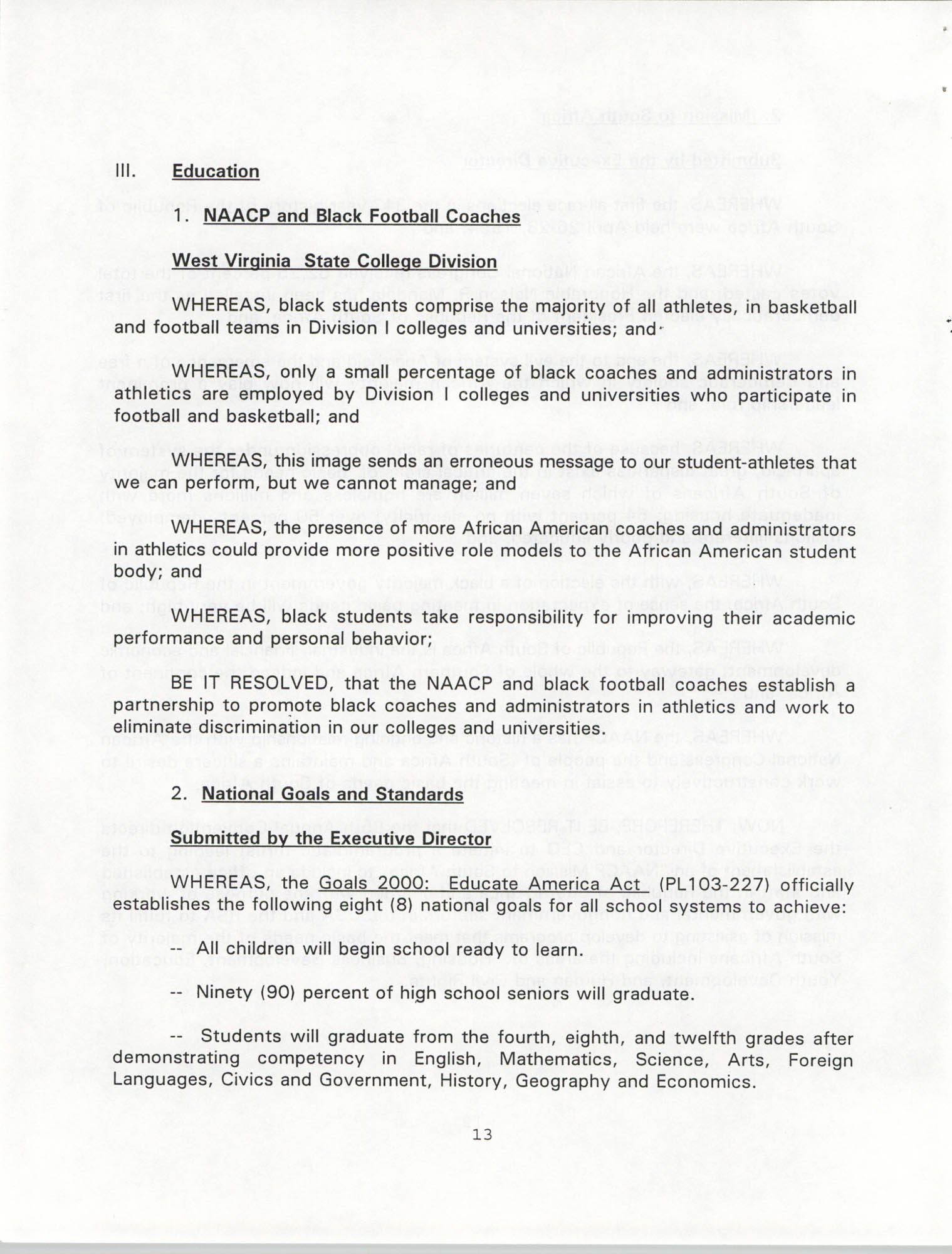 Resolutions Submitted Under Article X, Section 2 of the Constitution of the NAACP, 1994, Page 13