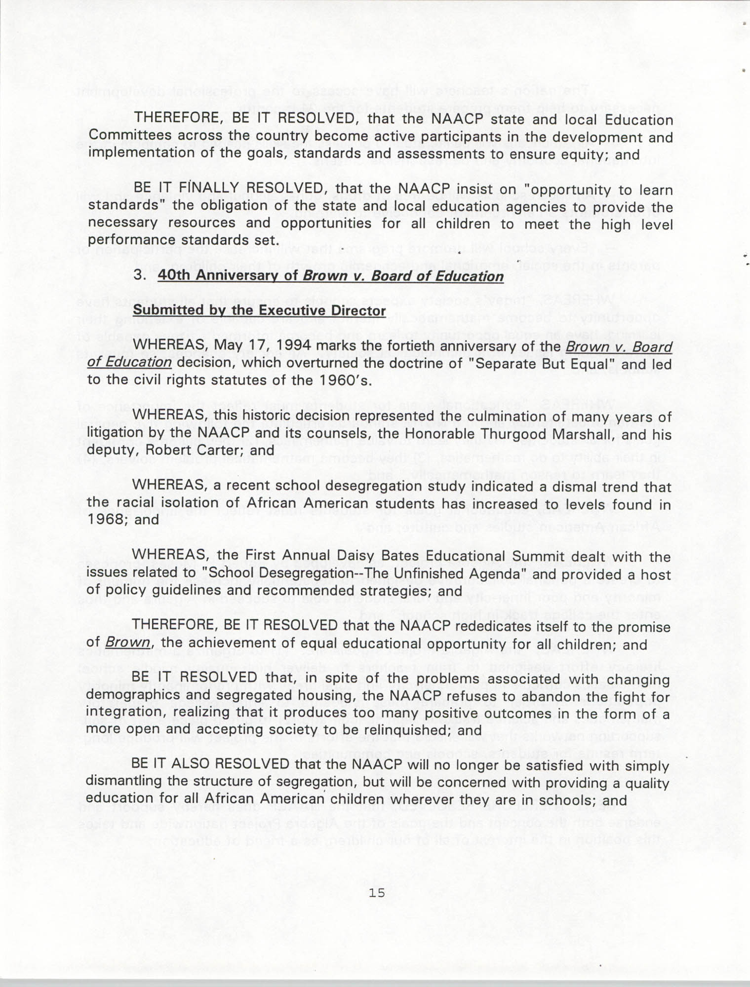 Resolutions Submitted Under Article X, Section 2 of the Constitution of the NAACP, 1994, Page 15