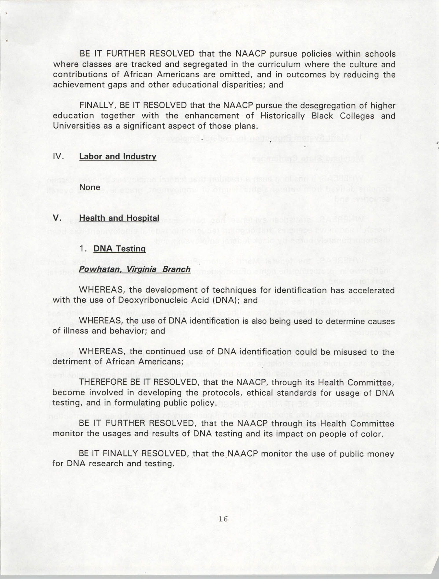 Resolutions Submitted Under Article X, Section 2 of the Constitution of the NAACP, 1994, Page 16