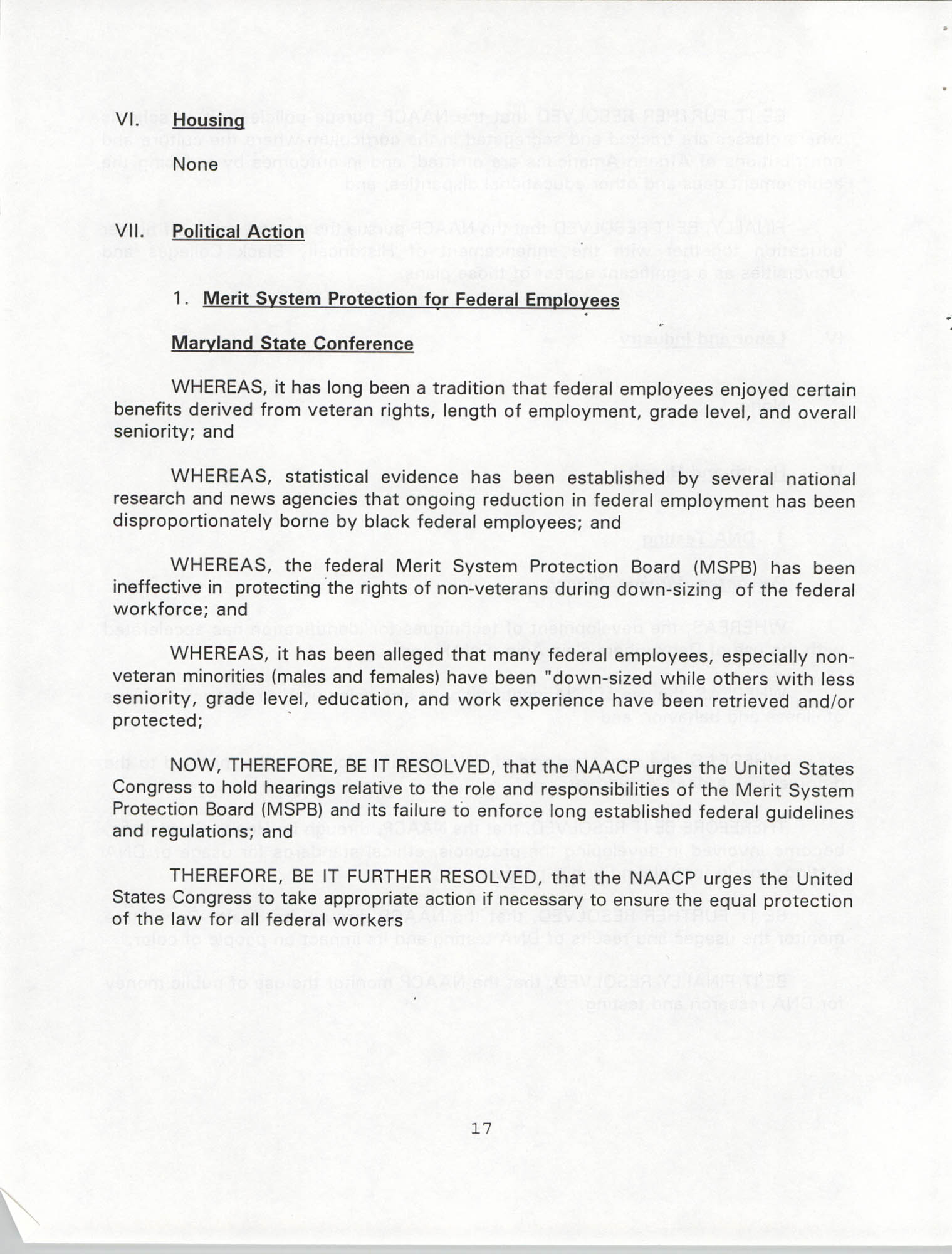 Resolutions Submitted Under Article X, Section 2 of the Constitution of the NAACP, 1994, Page 17