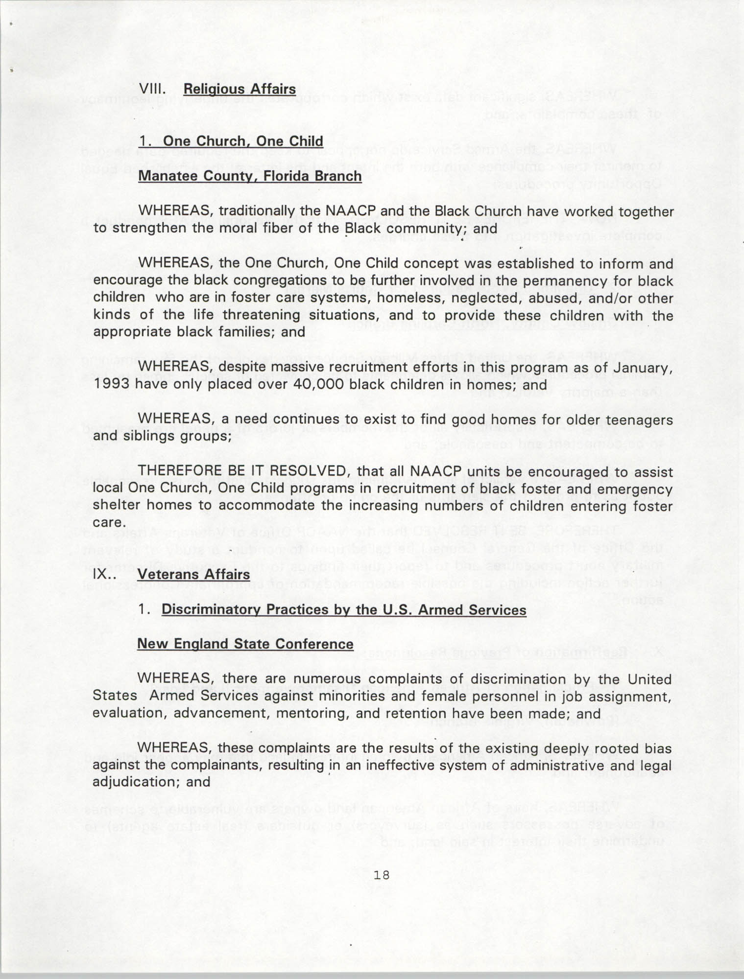Resolutions Submitted Under Article X, Section 2 of the Constitution of the NAACP, 1994, Page 18