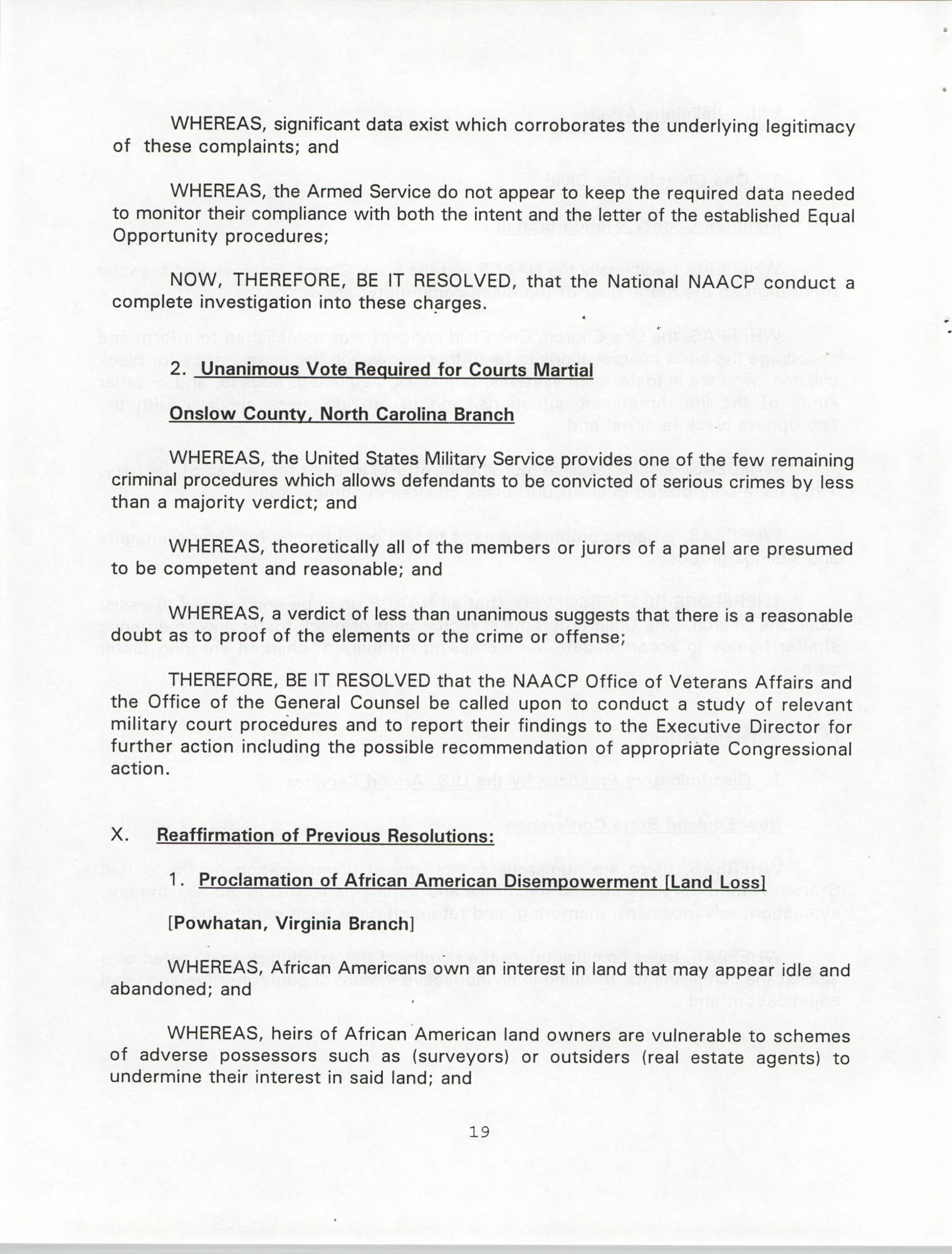 Resolutions Submitted Under Article X, Section 2 of the Constitution of the NAACP, 1994, Page 19