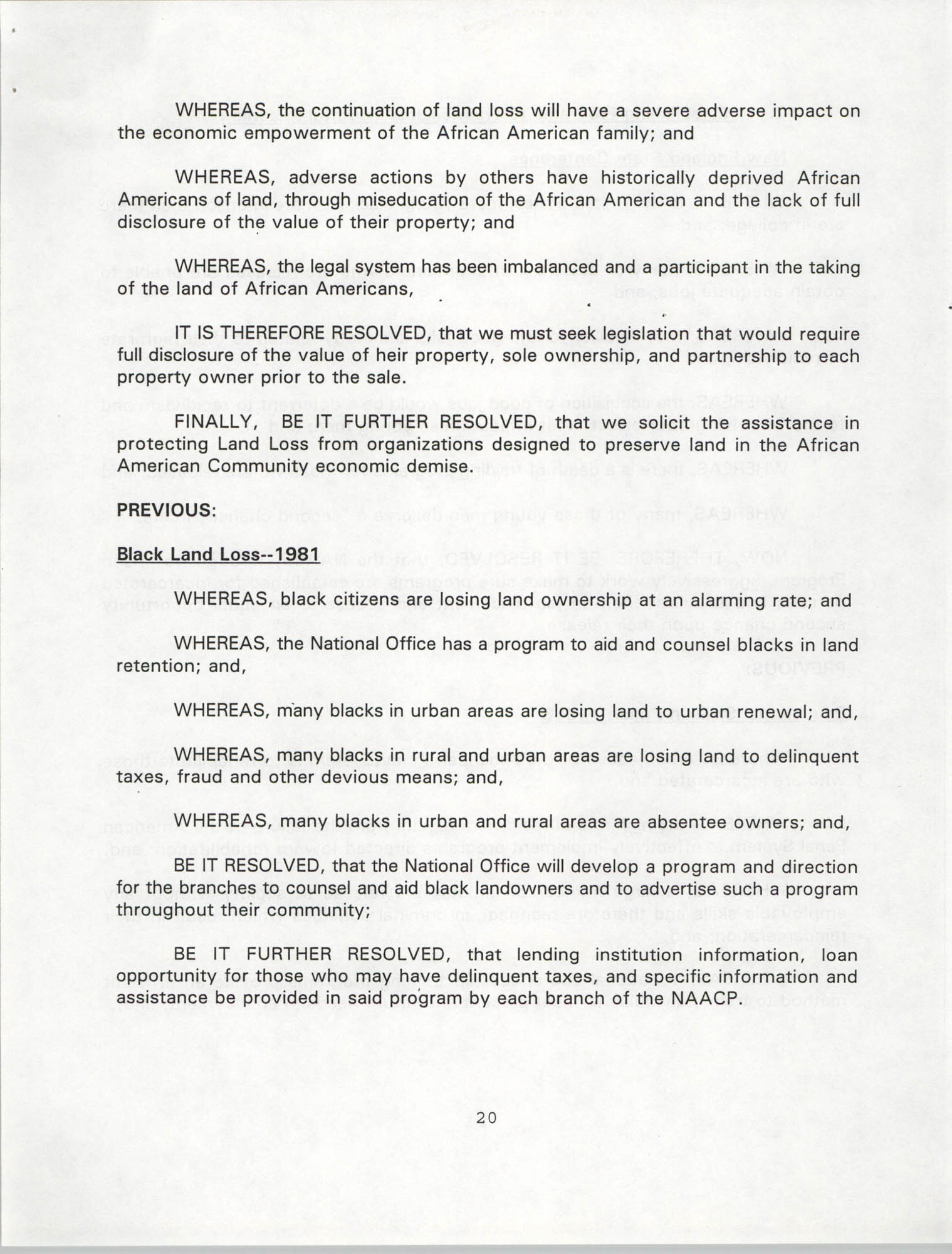 Resolutions Submitted Under Article X, Section 2 of the Constitution of the NAACP, 1994, Page 20