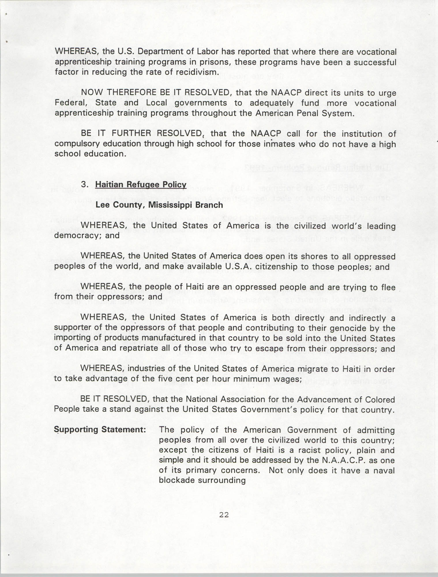 Resolutions Submitted Under Article X, Section 2 of the Constitution of the NAACP, 1994, Page 22