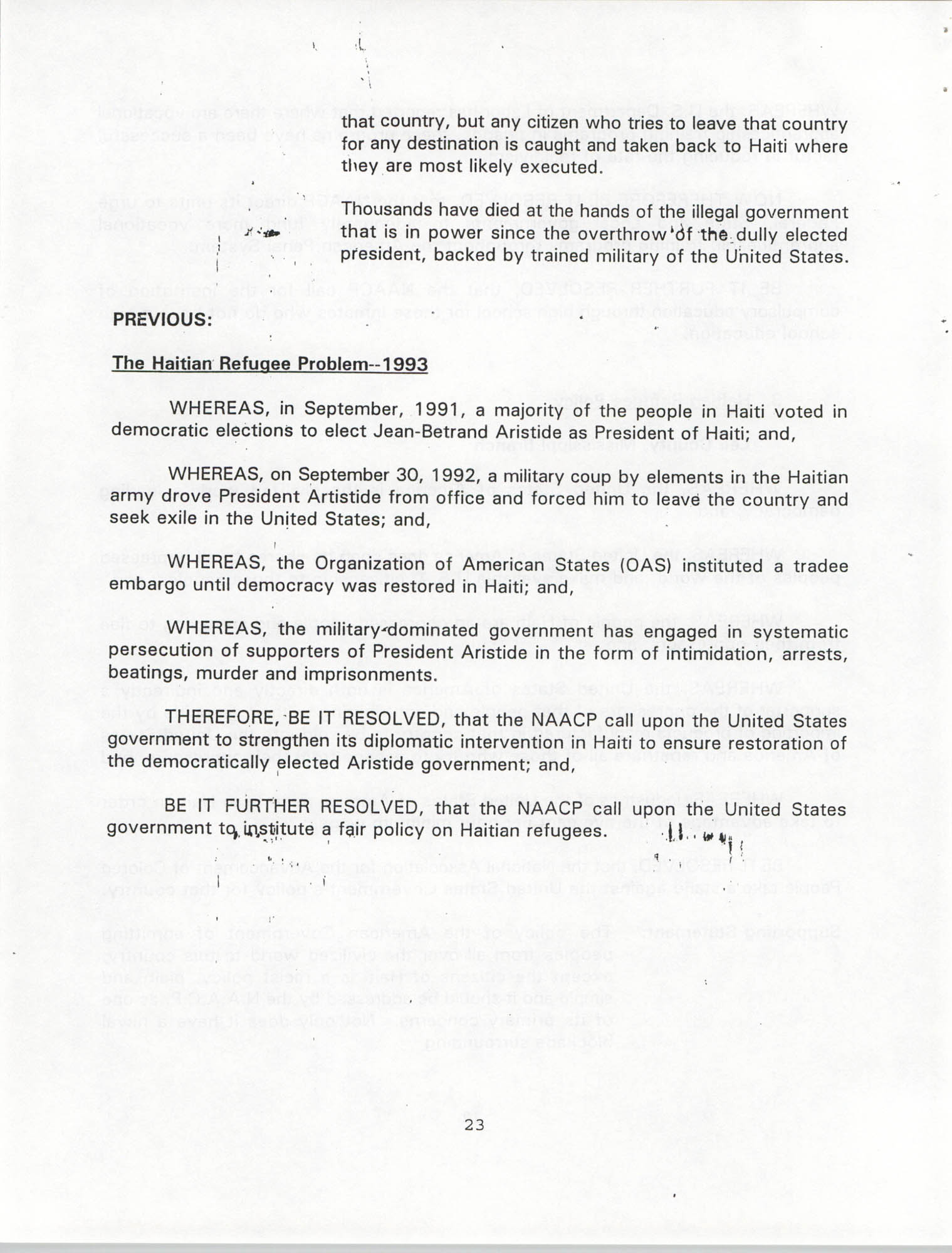 Resolutions Submitted Under Article X, Section 2 of the Constitution of the NAACP, 1994, Page 23