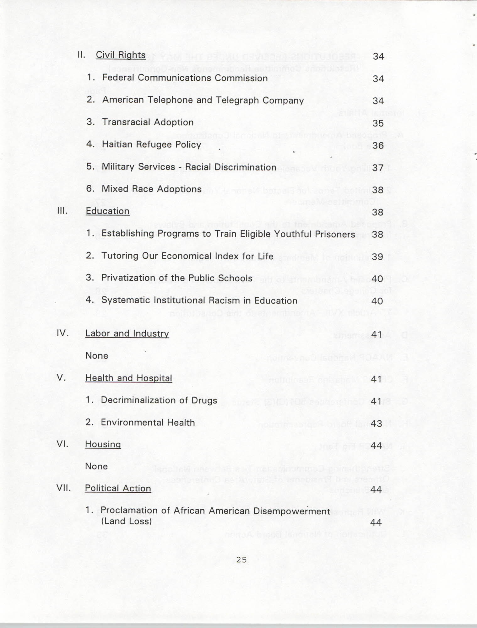 Resolutions Submitted Under Article X, Section 2 of the Constitution of the NAACP, 1994, Page 25