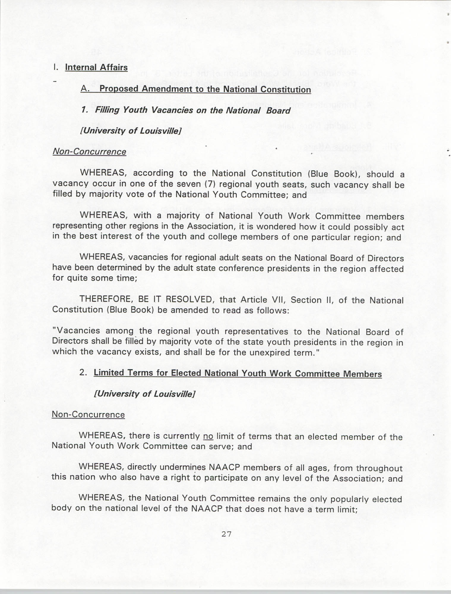 Resolutions Submitted Under Article X, Section 2 of the Constitution of the NAACP, 1994, Page 27