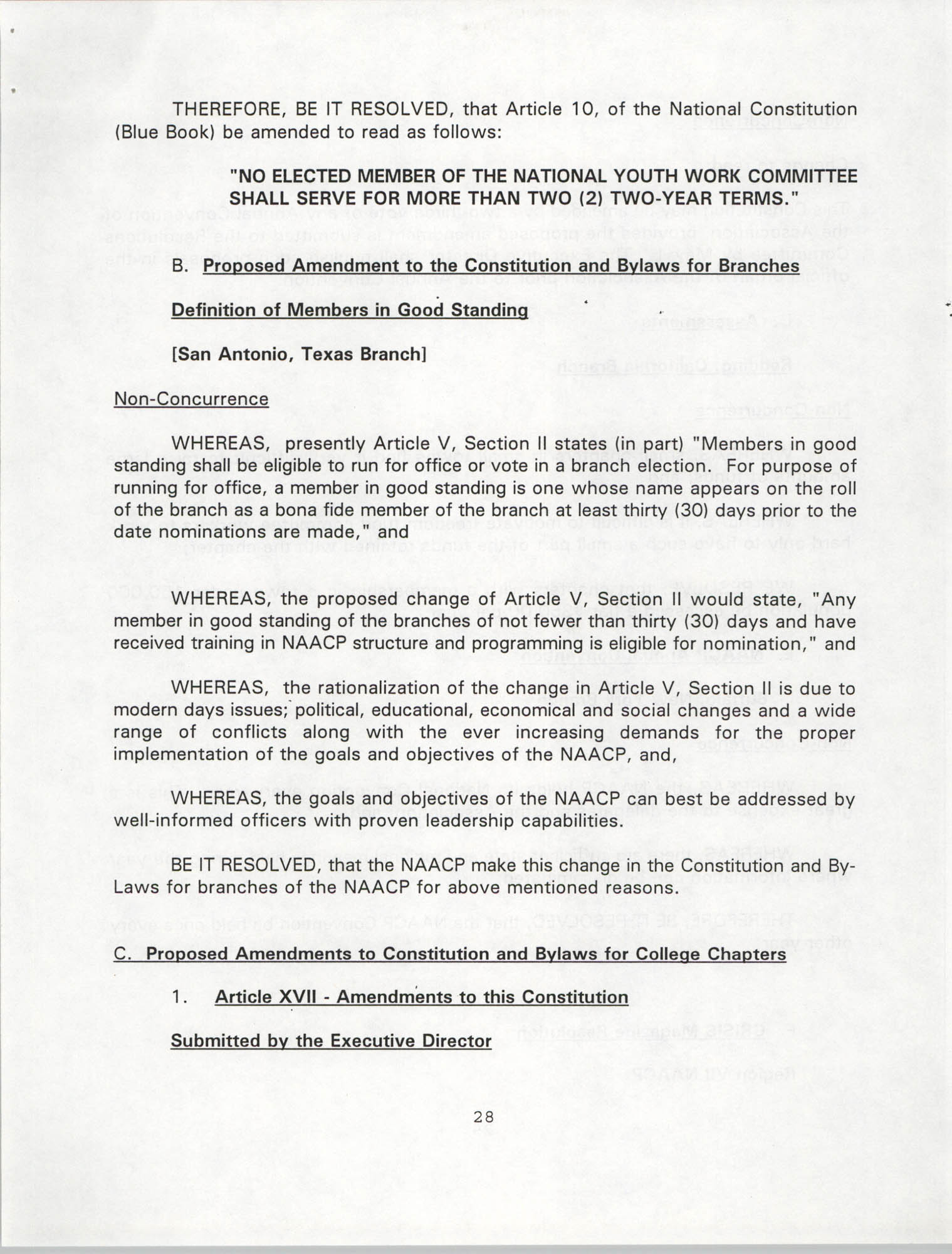 Resolutions Submitted Under Article X, Section 2 of the Constitution of the NAACP, 1994, Page 28