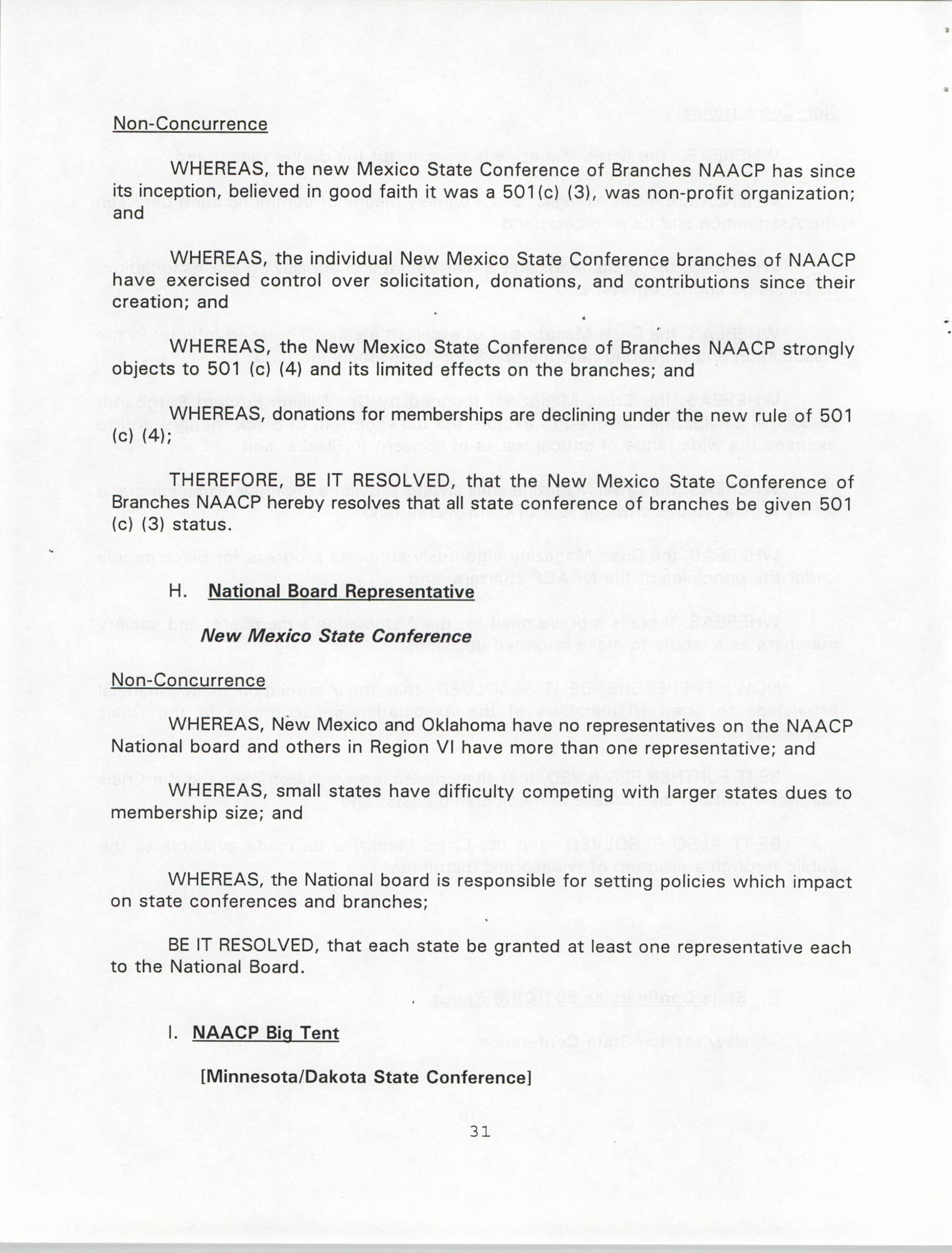 Resolutions Submitted Under Article X, Section 2 of the Constitution of the NAACP, 1994, Page 31