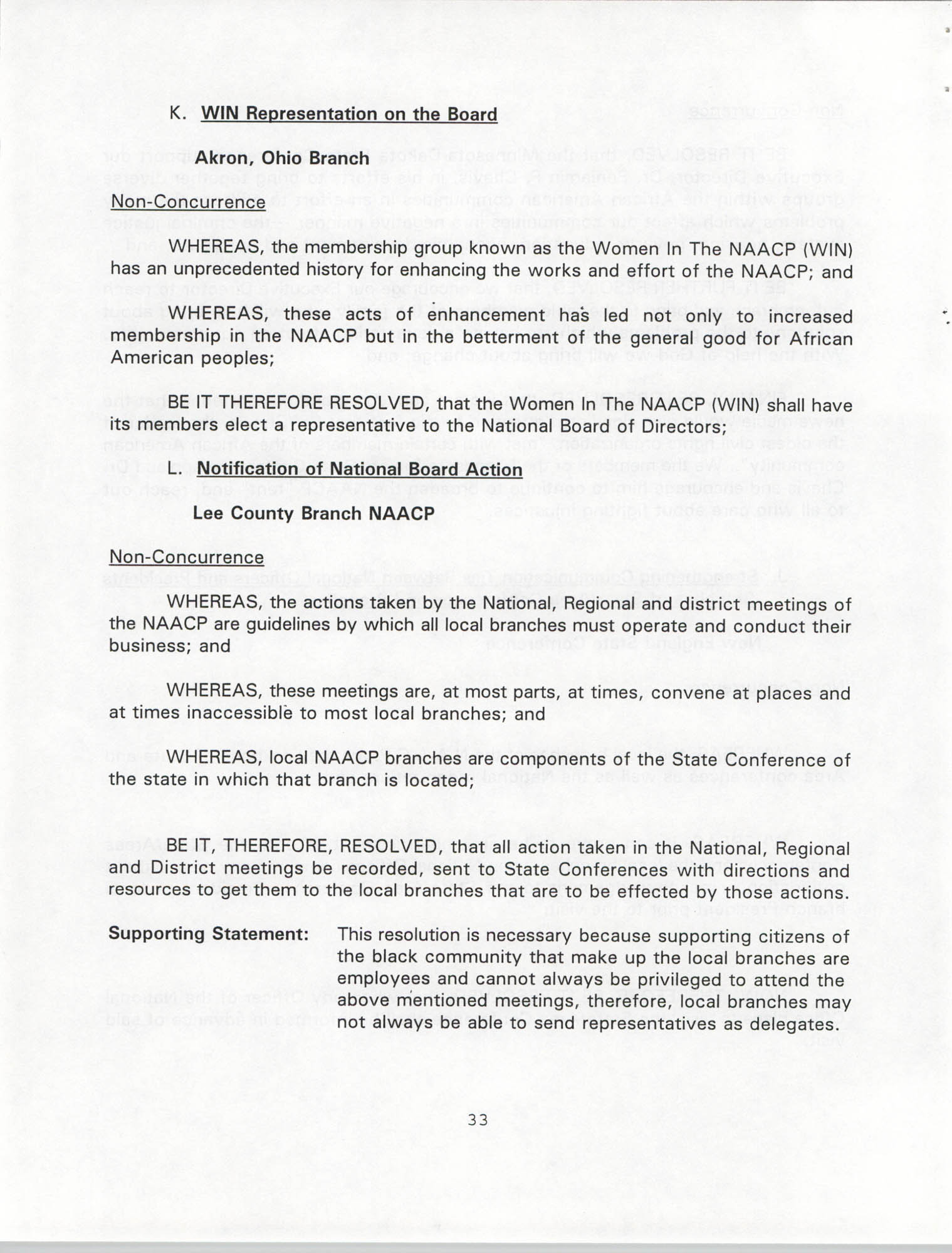 Resolutions Submitted Under Article X, Section 2 of the Constitution of the NAACP, 1994, Page 33