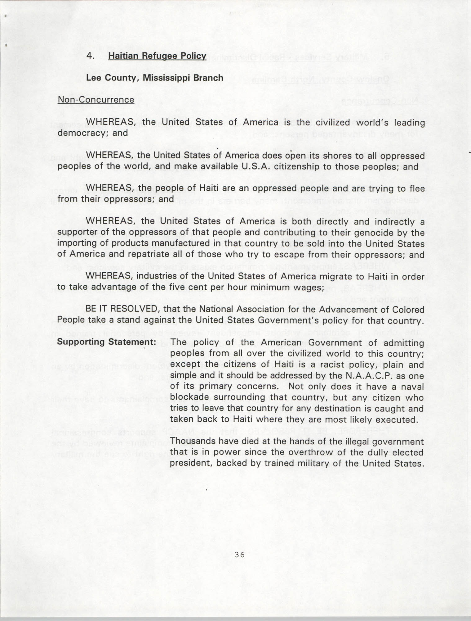 Resolutions Submitted Under Article X, Section 2 of the Constitution of the NAACP, 1994, Page 36