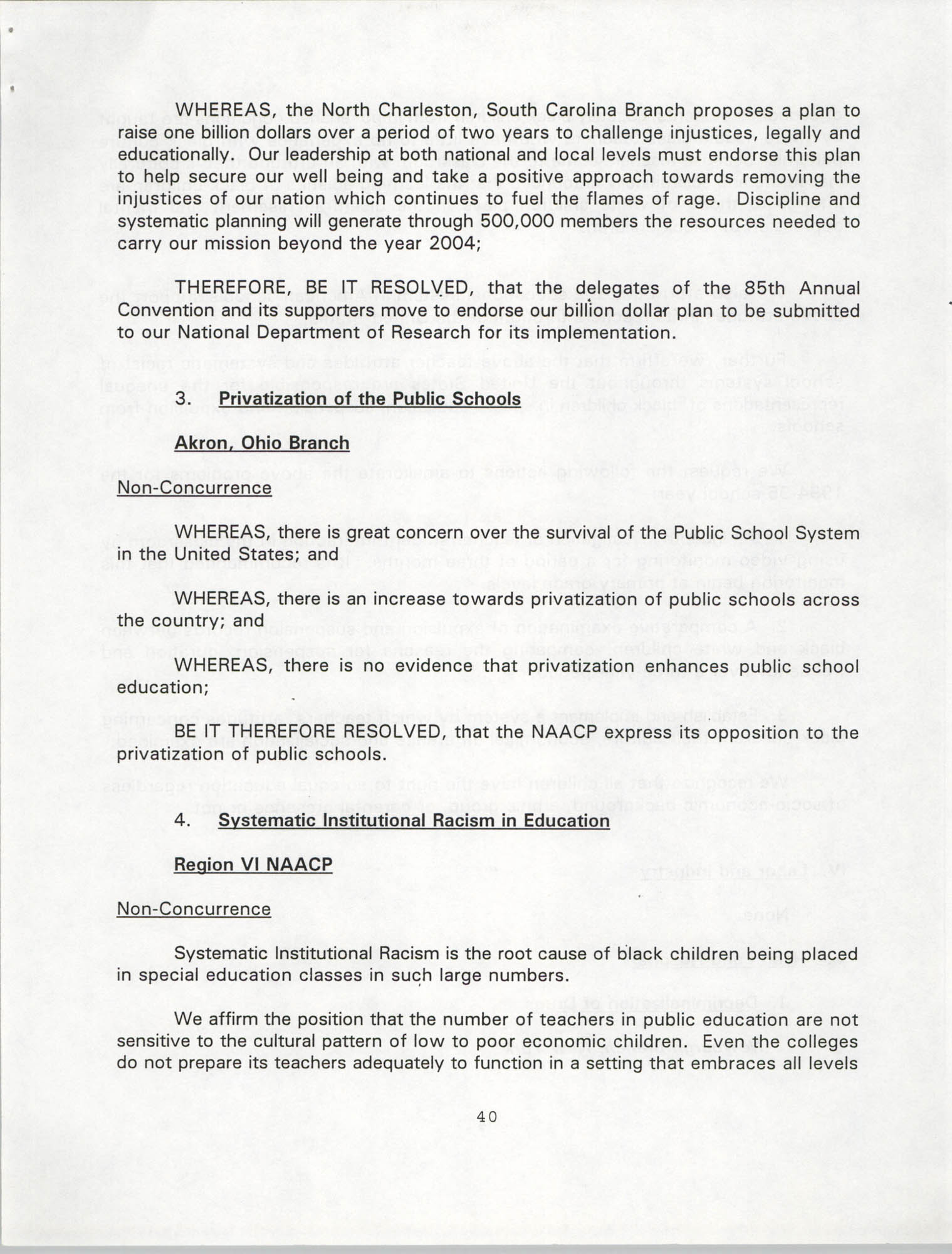 Resolutions Submitted Under Article X, Section 2 of the Constitution of the NAACP, 1994, Page 40