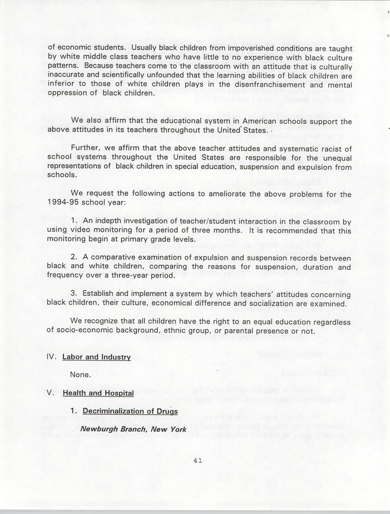 Resolutions Submitted Under Article X, Section 2 of the Constitution of the NAACP, 1994, Page 41