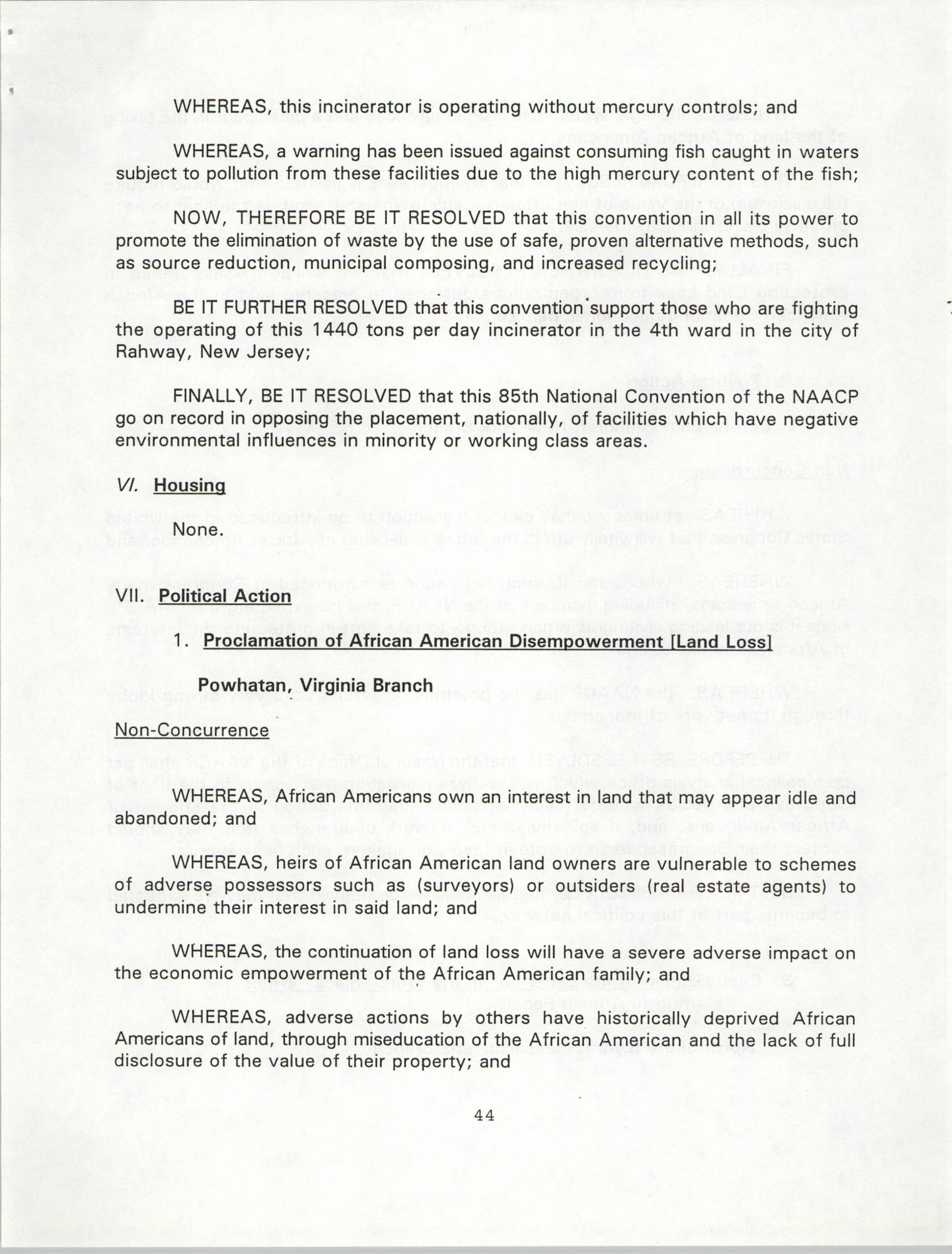 Resolutions Submitted Under Article X, Section 2 of the Constitution of the NAACP, 1994, Page 44