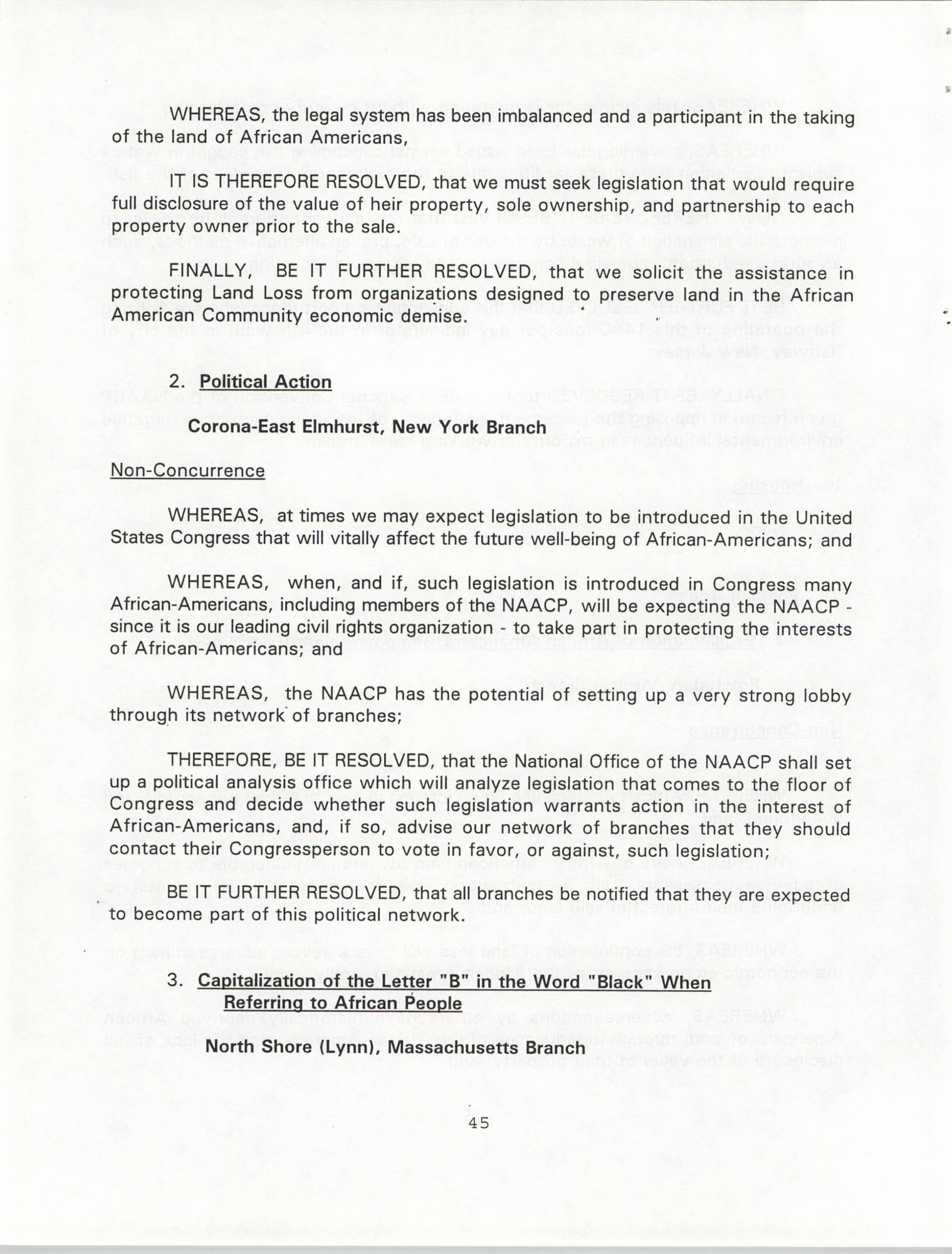 Resolutions Submitted Under Article X, Section 2 of the Constitution of the NAACP, 1994, Page 45