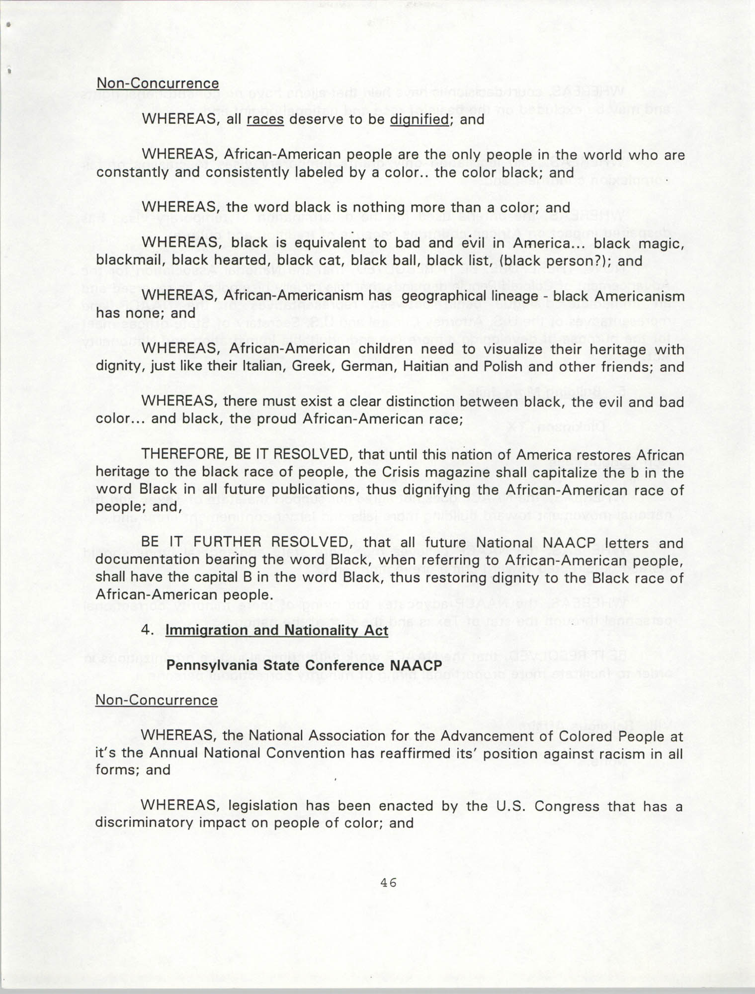 Resolutions Submitted Under Article X, Section 2 of the Constitution of the NAACP, 1994, Page 46