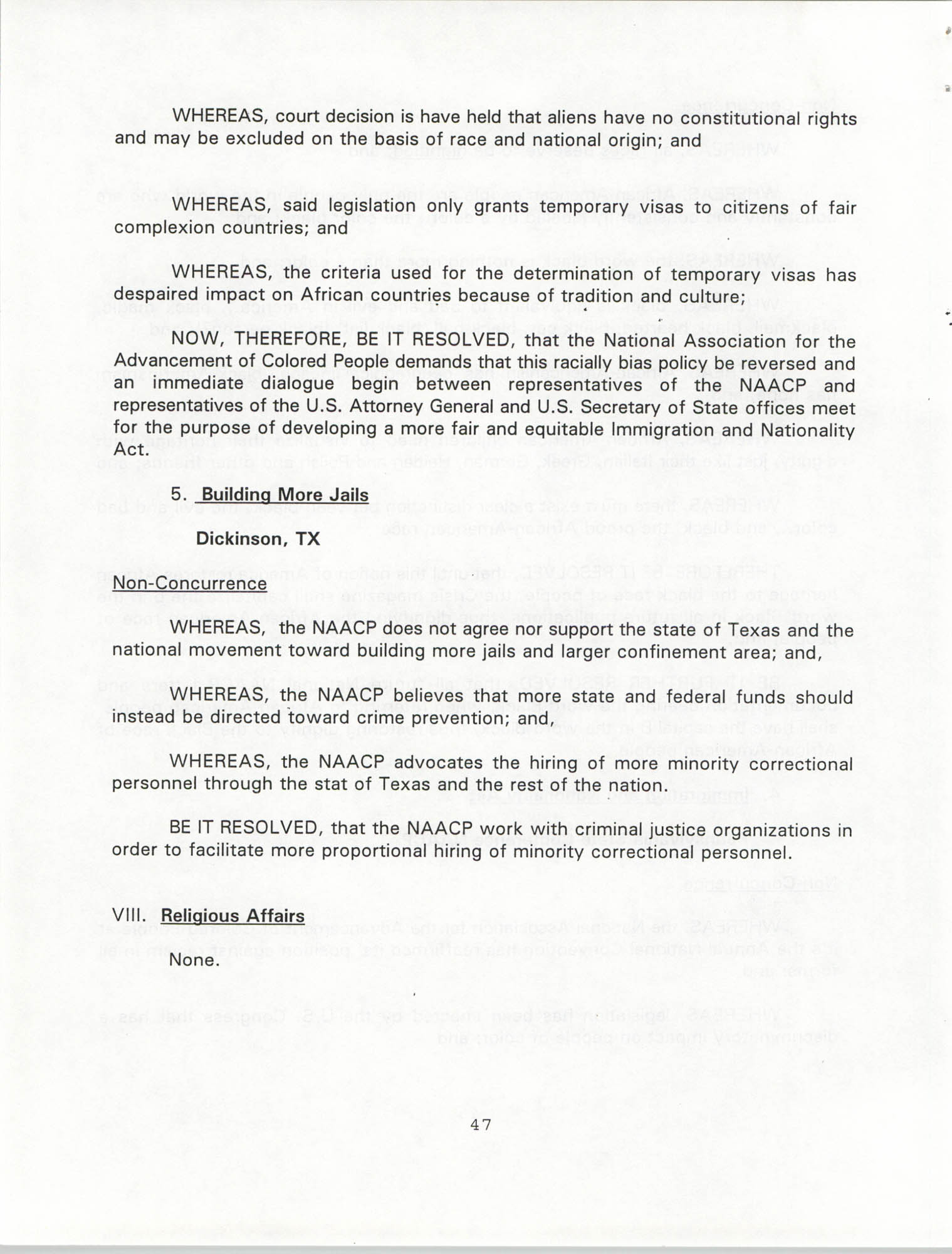 Resolutions Submitted Under Article X, Section 2 of the Constitution of the NAACP, 1994, Page 47