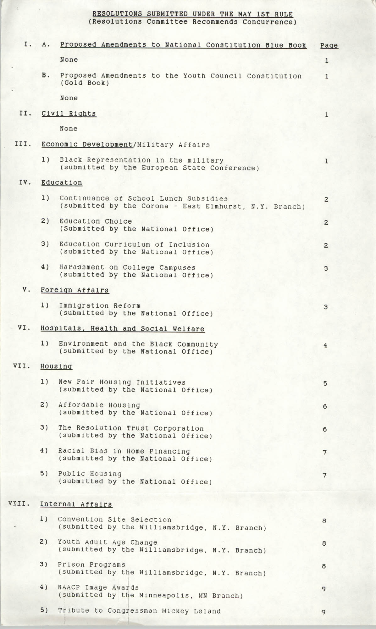 Resolutions Submitted Under Article X, Section 2 of the Constitution of the NAACP, 1990, Outline