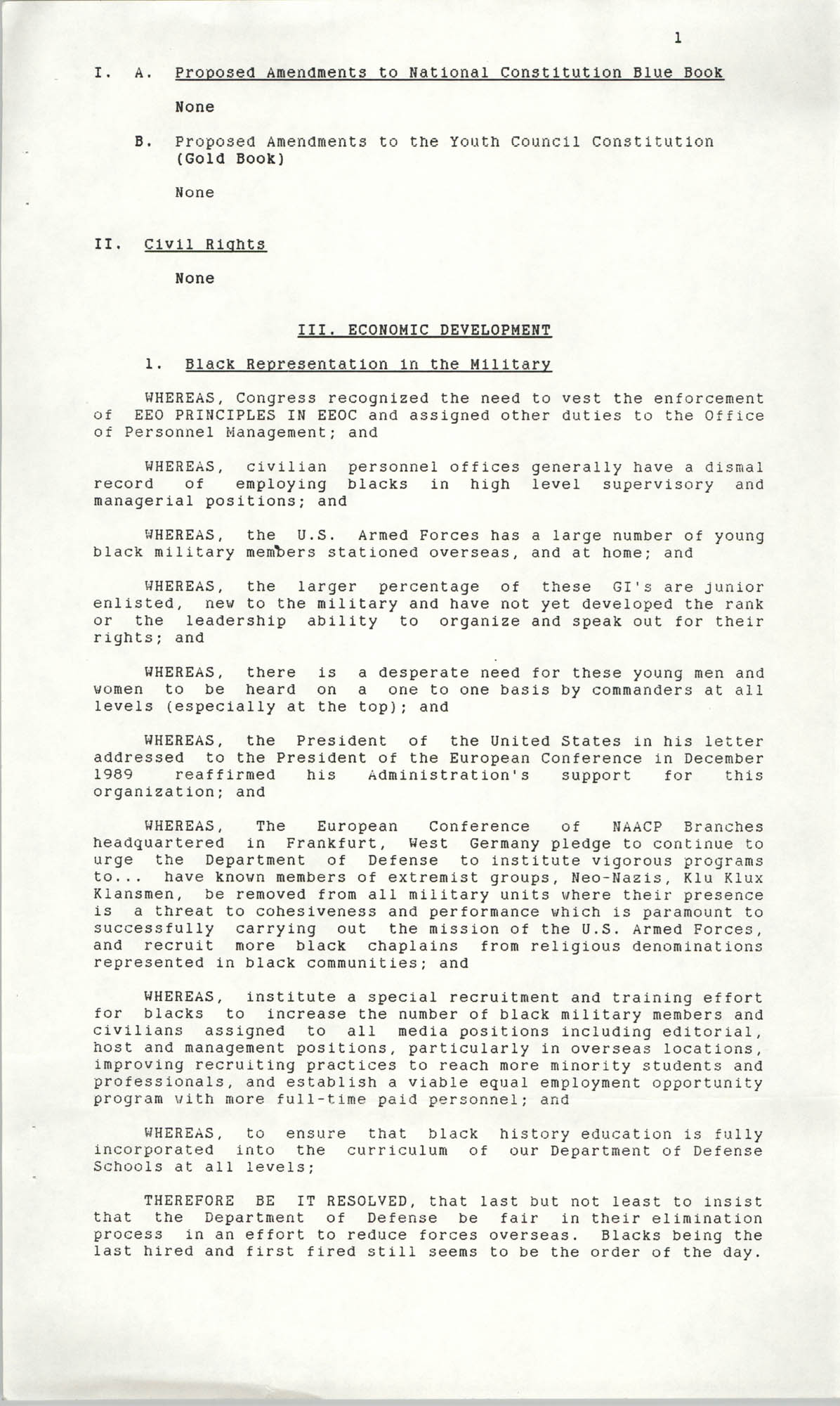 Resolutions Submitted Under Article X, Section 2 of the Constitution of the NAACP, 1990, Page 1