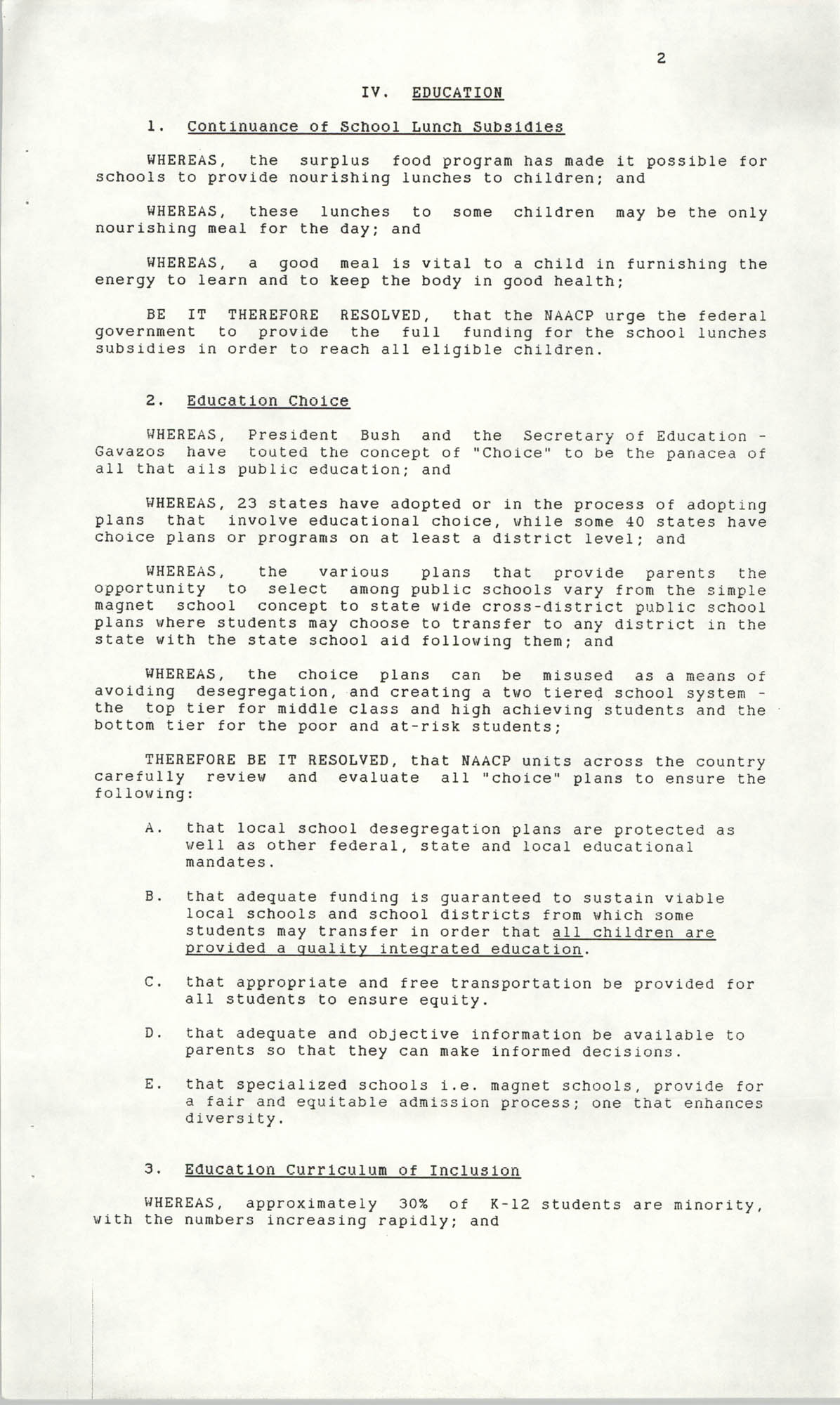 Resolutions Submitted Under Article X, Section 2 of the Constitution of the NAACP, 1990, Page 2
