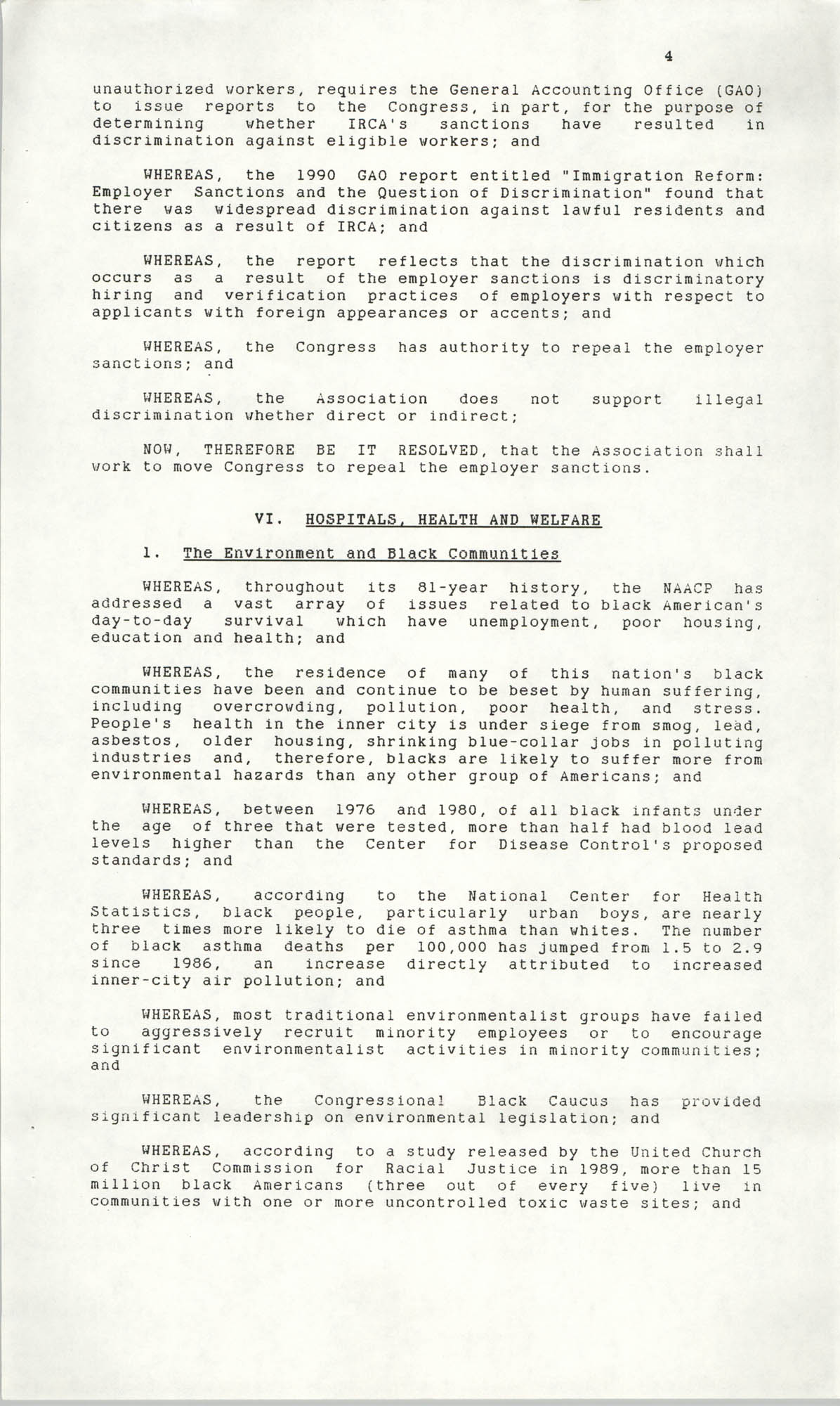Resolutions Submitted Under Article X, Section 2 of the Constitution of the NAACP, 1990, Page 4