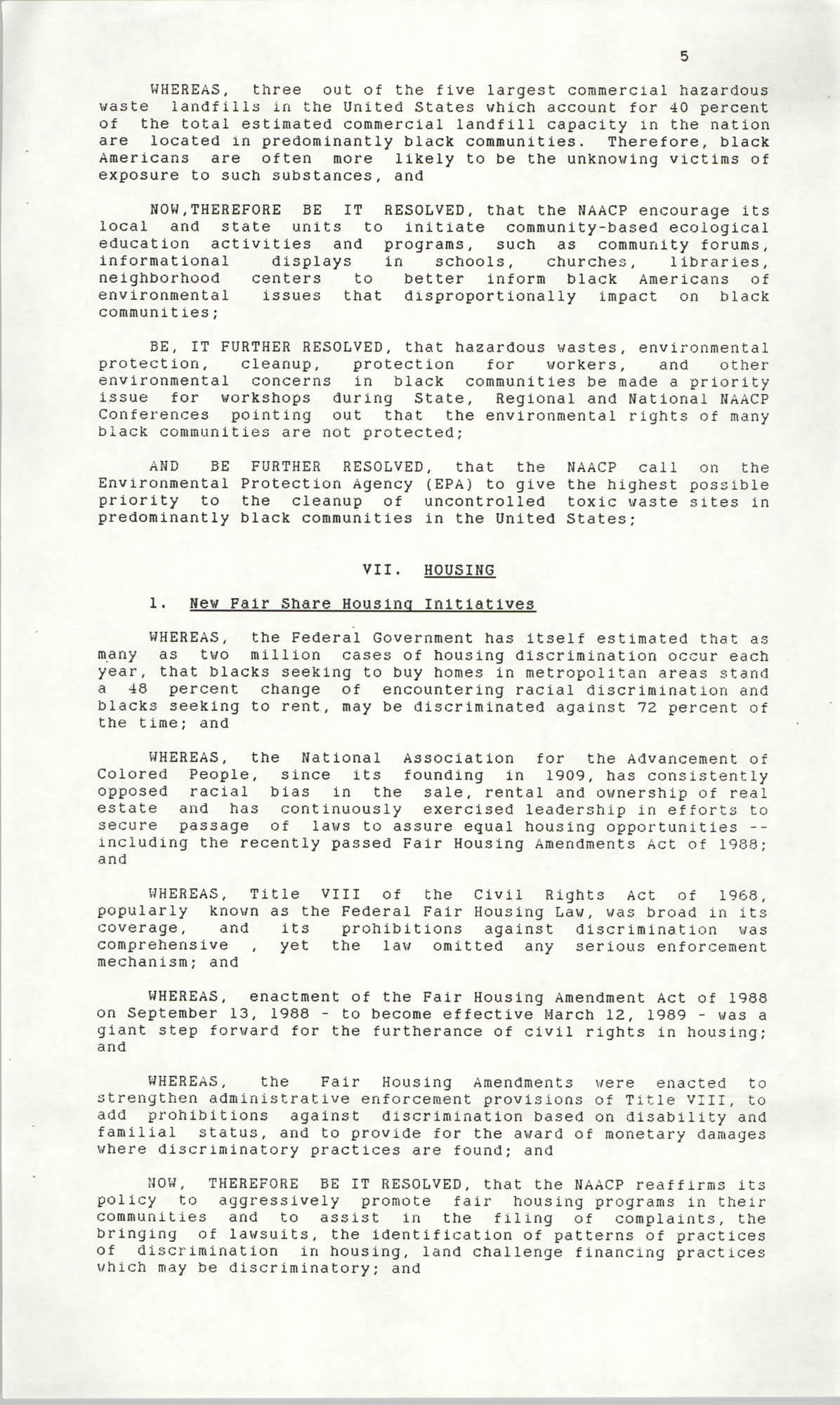 Resolutions Submitted Under Article X, Section 2 of the Constitution of the NAACP, 1990, Page 5