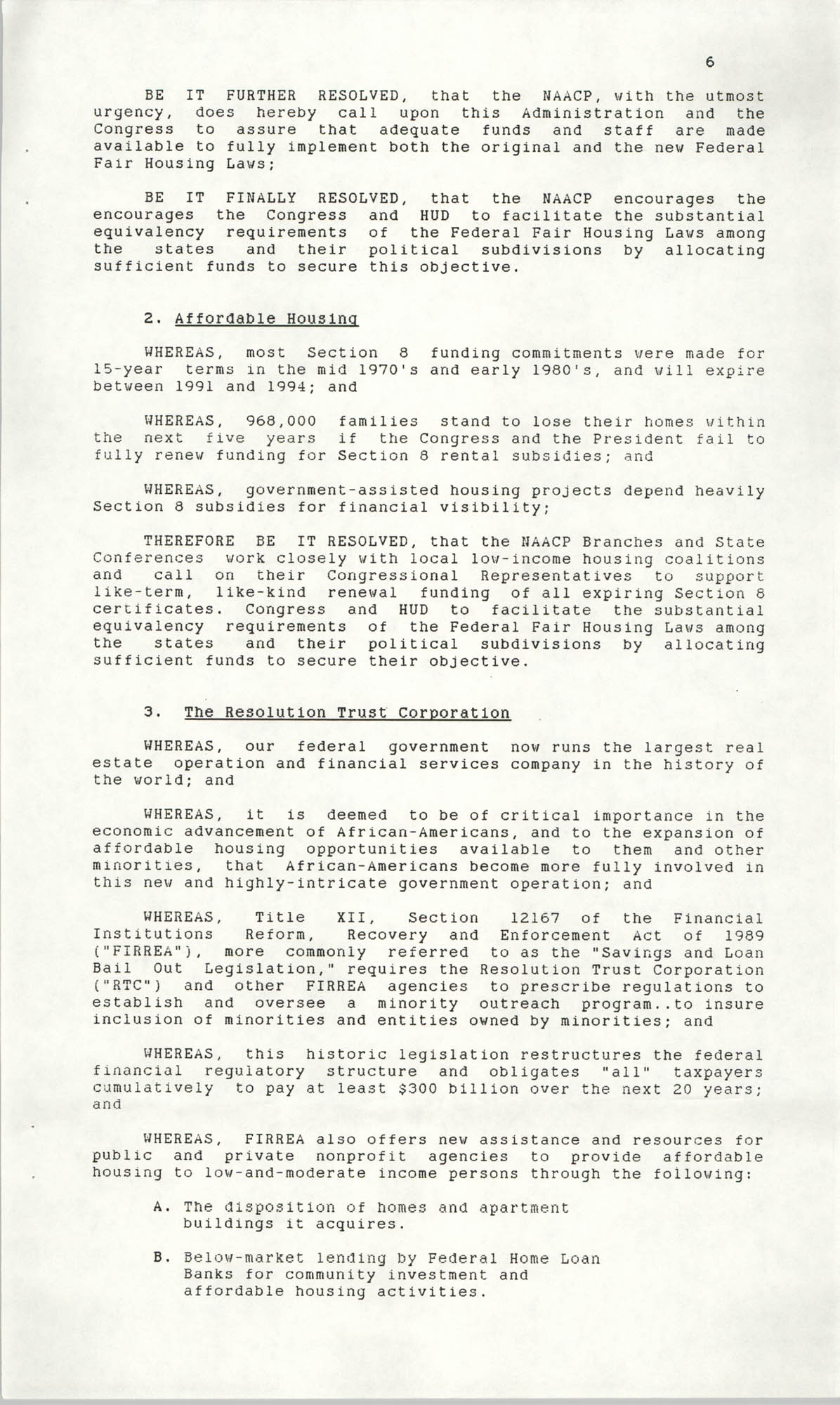 Resolutions Submitted Under Article X, Section 2 of the Constitution of the NAACP, 1990, Page 6