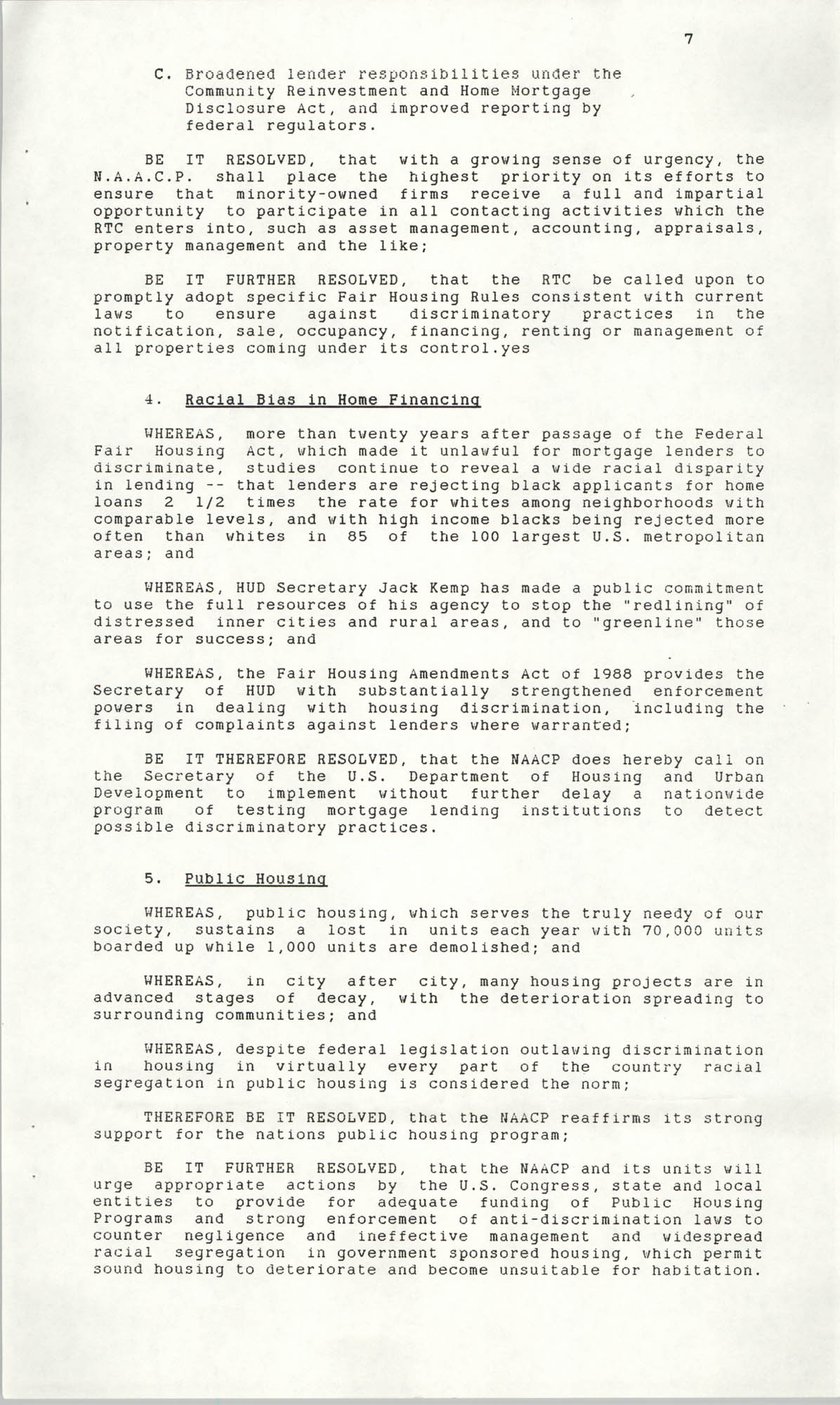Resolutions Submitted Under Article X, Section 2 of the Constitution of the NAACP, 1990, Page 7