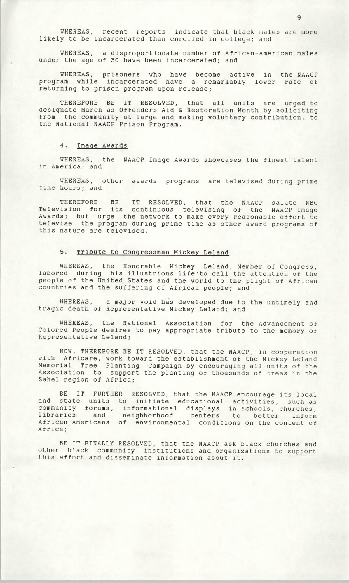 Resolutions Submitted Under Article X, Section 2 of the Constitution of the NAACP, 1990, Page 9