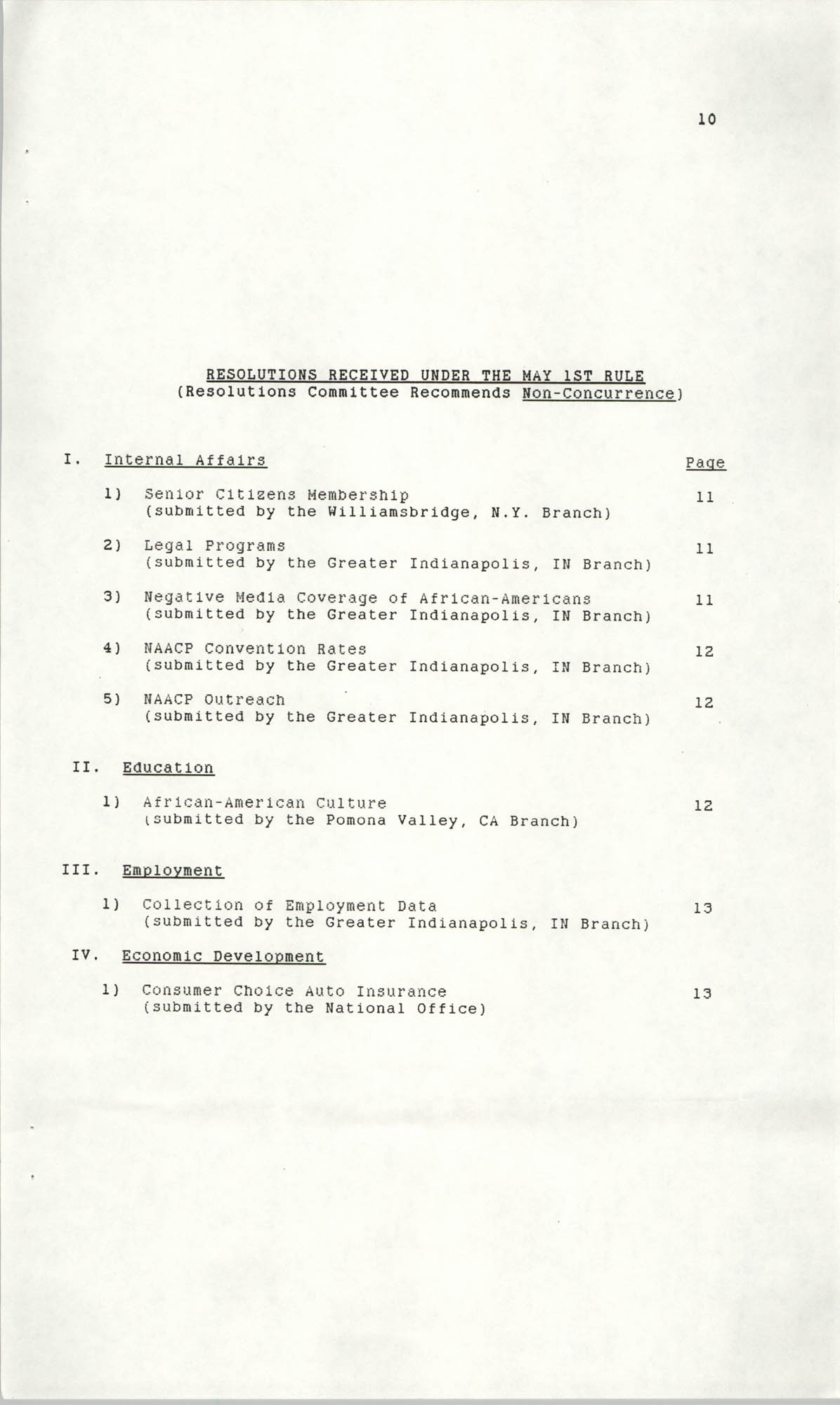 Resolutions Submitted Under Article X, Section 2 of the Constitution of the NAACP, 1990, Page 10