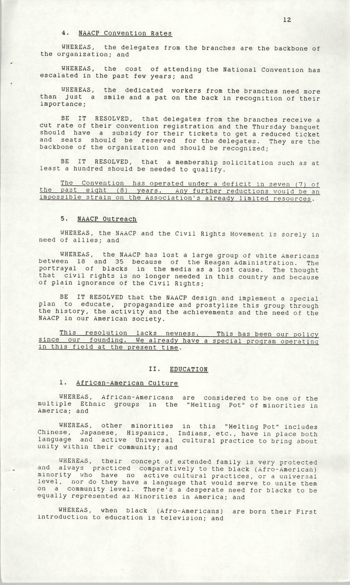 Resolutions Submitted Under Article X, Section 2 of the Constitution of the NAACP, 1990, Page 12