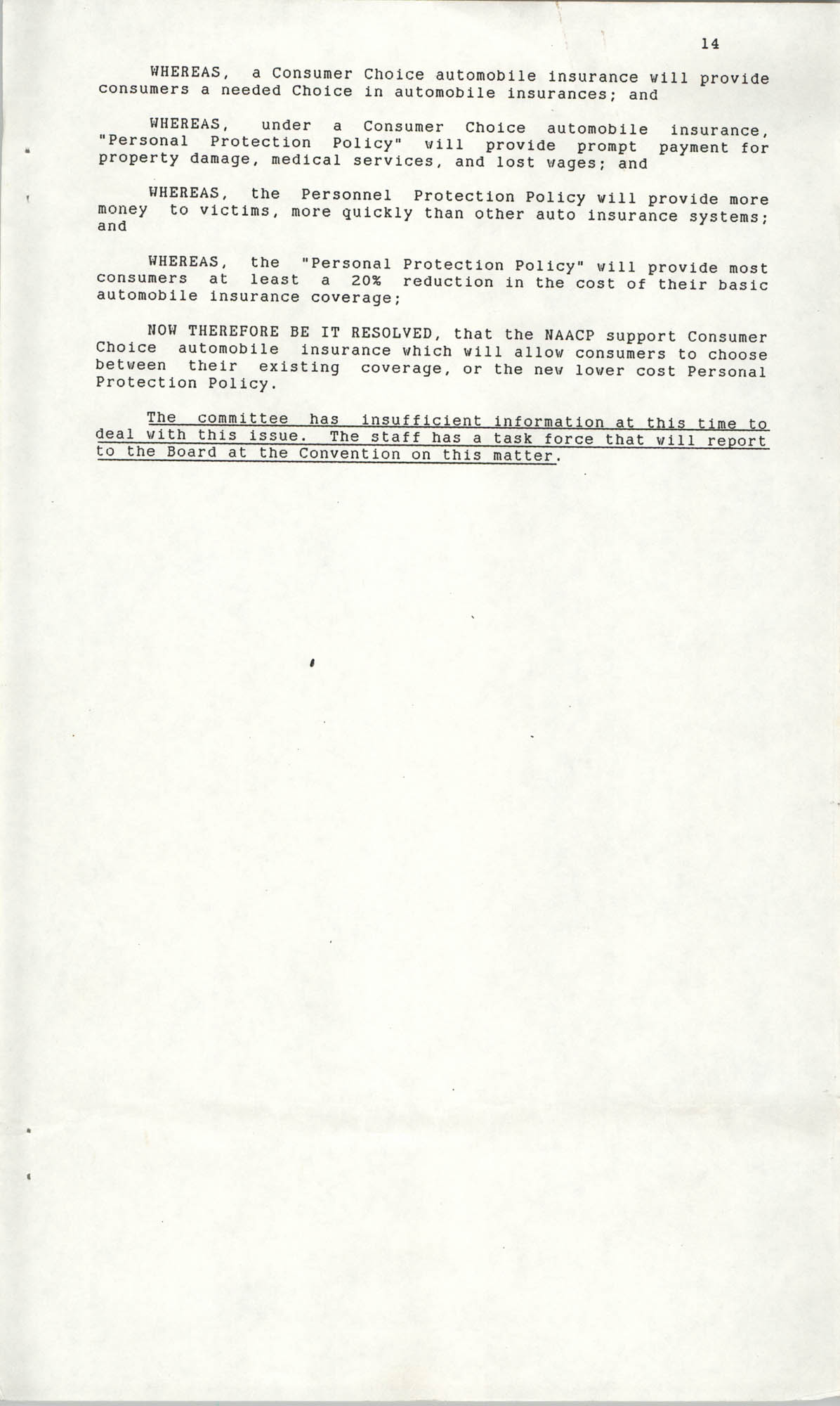 Resolutions Submitted Under Article X, Section 2 of the Constitution of the NAACP, 1990, Page 14