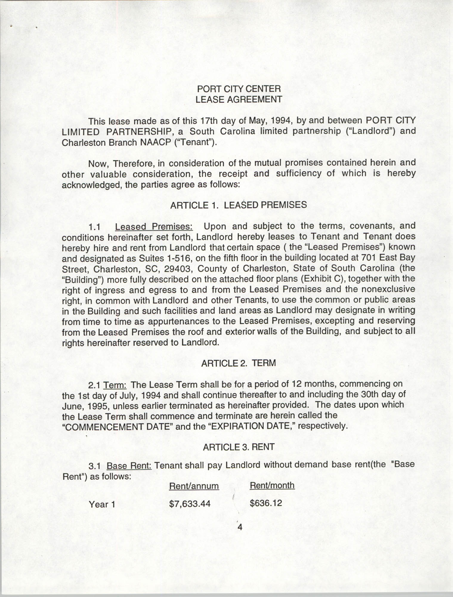 Charleston Branch of the NAACP Leasing Agreement, July 1994 to June 1995, Page 4