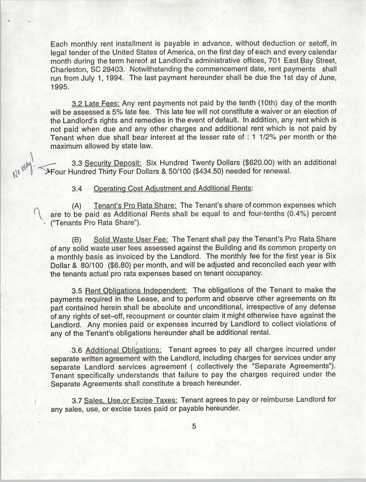 Charleston Branch of the NAACP Leasing Agreement, July 1994 to June 1995, Page 5