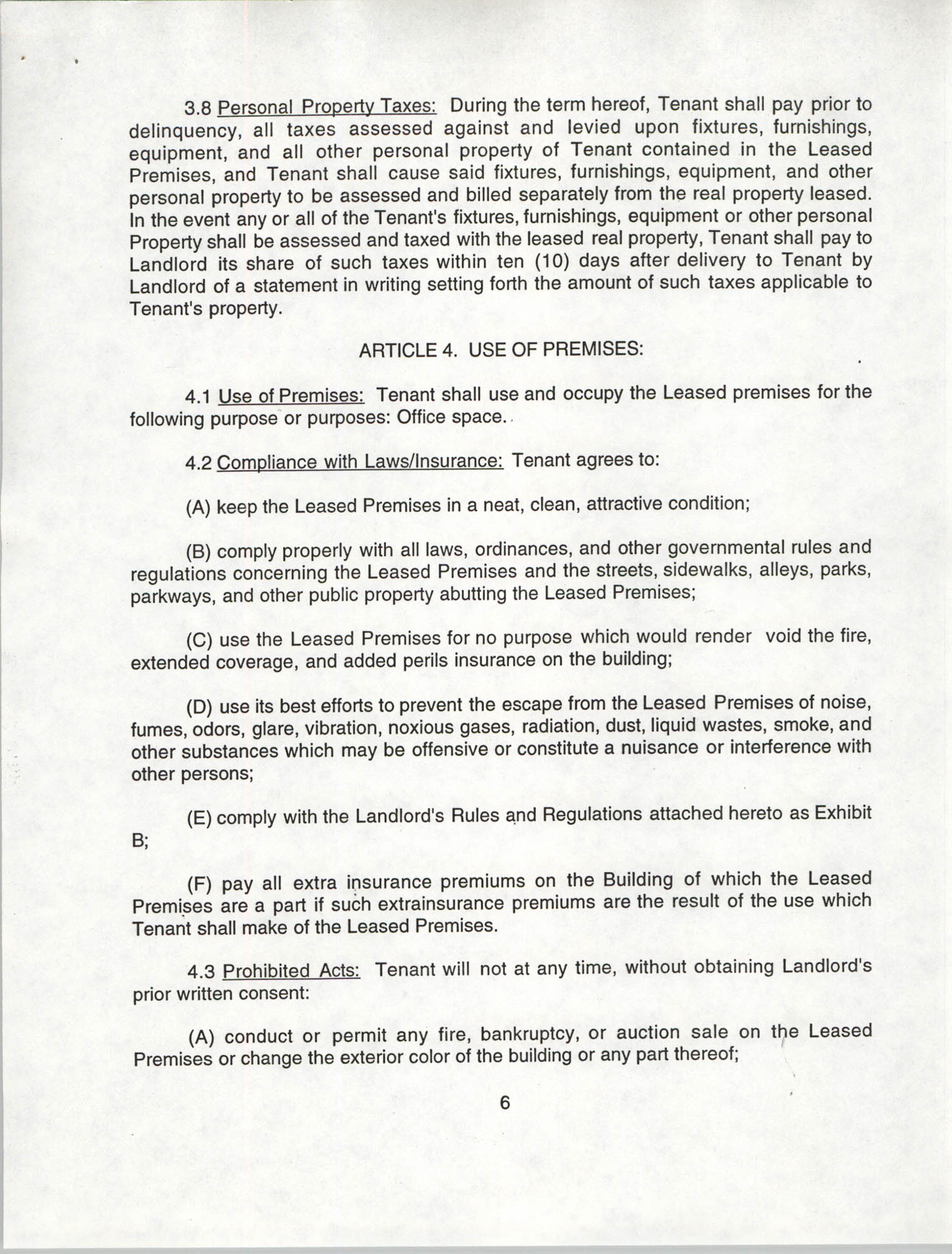 Charleston Branch of the NAACP Leasing Agreement, July 1994 to June 1995, Page 6