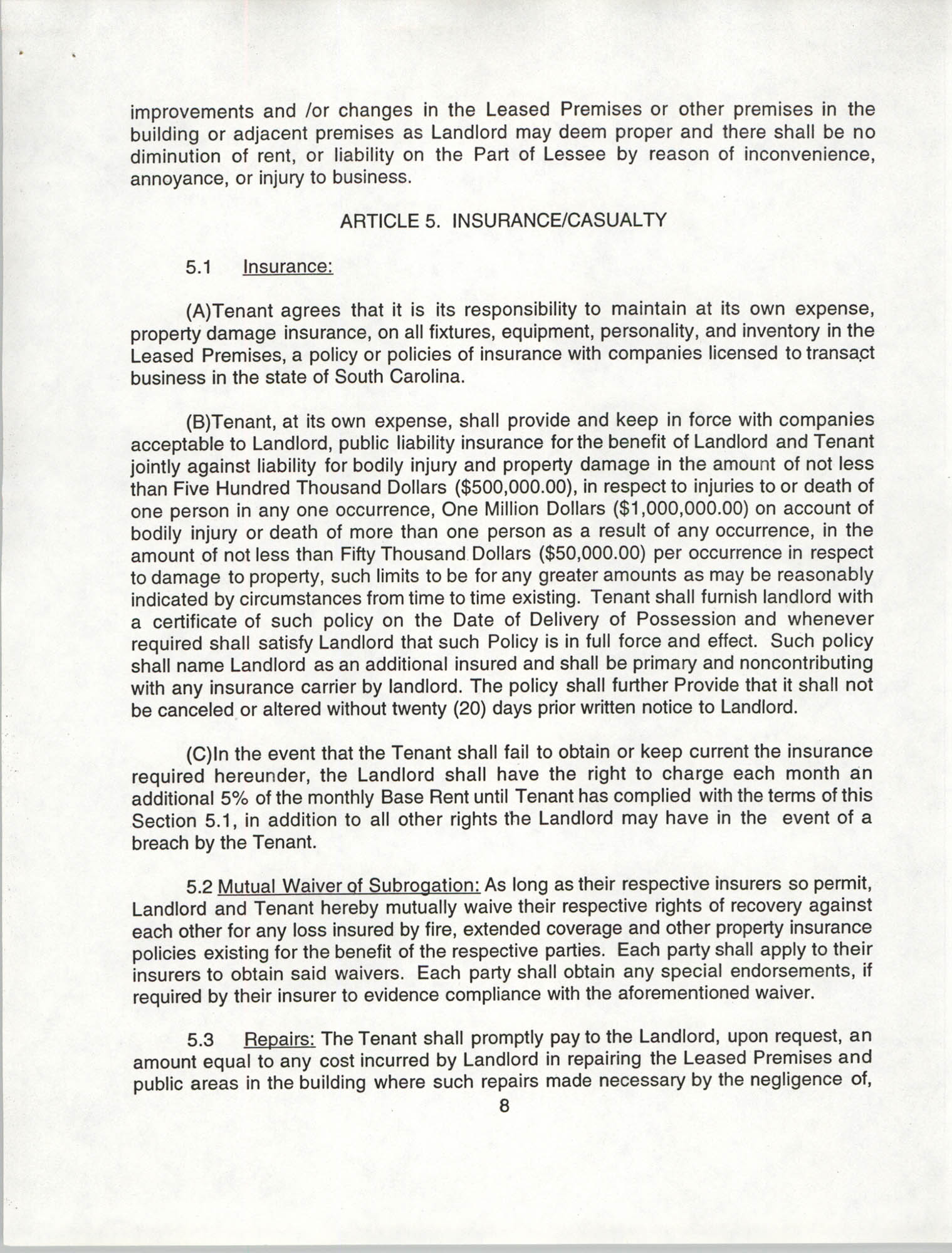 Charleston Branch of the NAACP Leasing Agreement, July 1994 to June 1995, Page 8