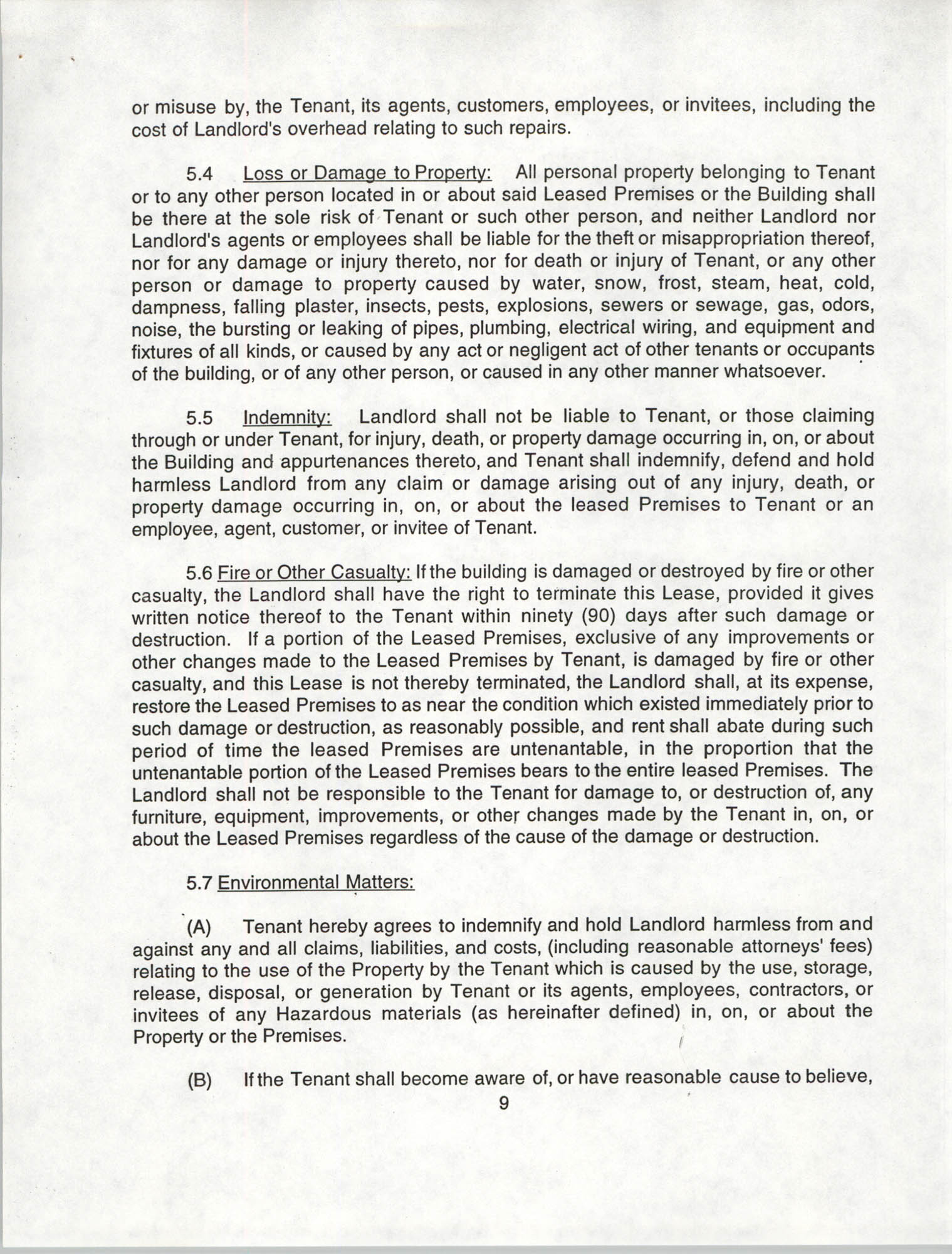 Charleston Branch of the NAACP Leasing Agreement, July 1994 to June 1995, Page 9