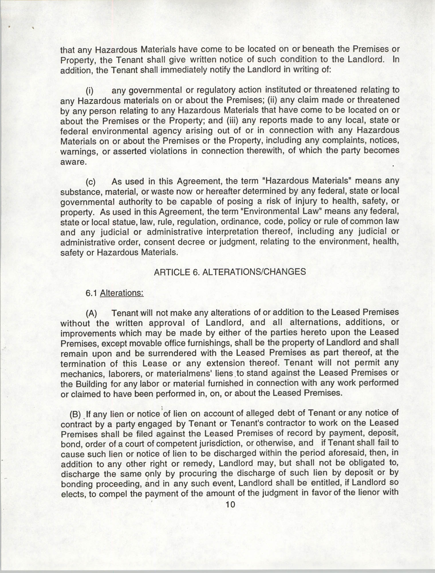 Charleston Branch of the NAACP Leasing Agreement, July 1994 to June 1995, Page 10