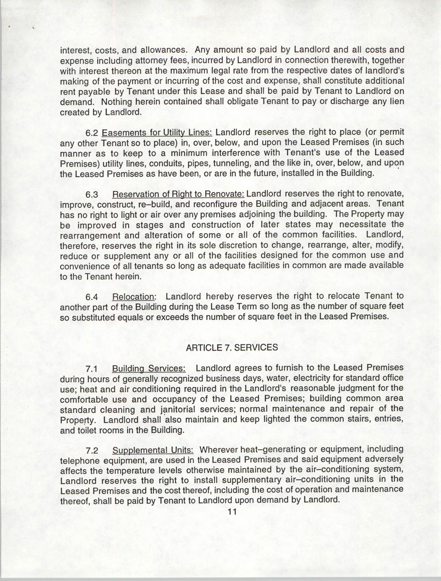Charleston Branch of the NAACP Leasing Agreement, July 1994 to June 1995, Page 11