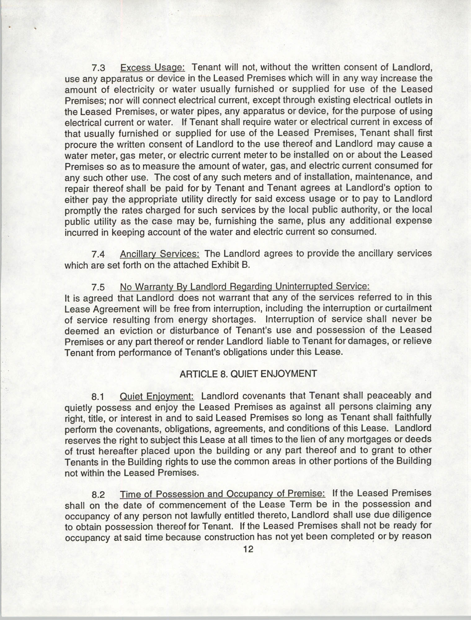 Charleston Branch of the NAACP Leasing Agreement, July 1994 to June 1995, Page 12