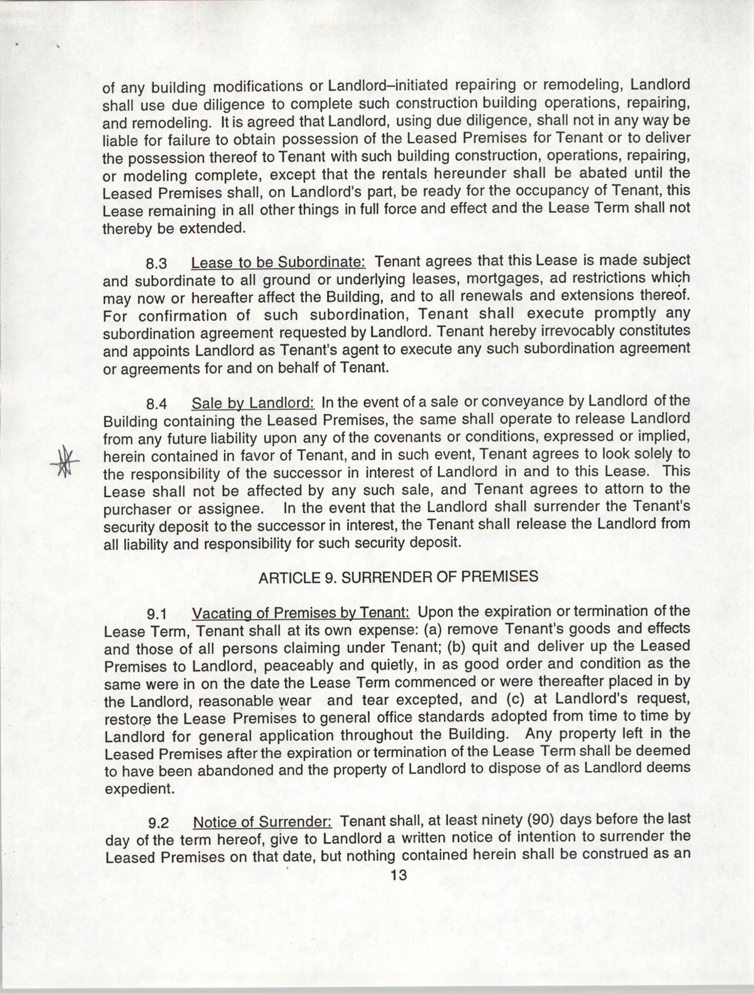 Charleston Branch of the NAACP Leasing Agreement, July 1994 to June 1995, Page 13