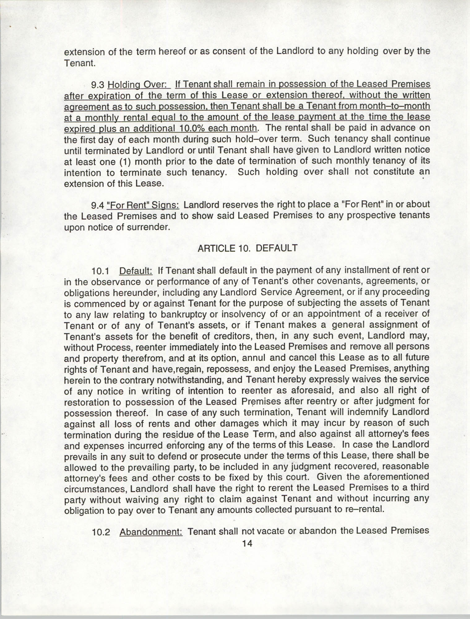 Charleston Branch of the NAACP Leasing Agreement, July 1994 to June 1995, Page 14